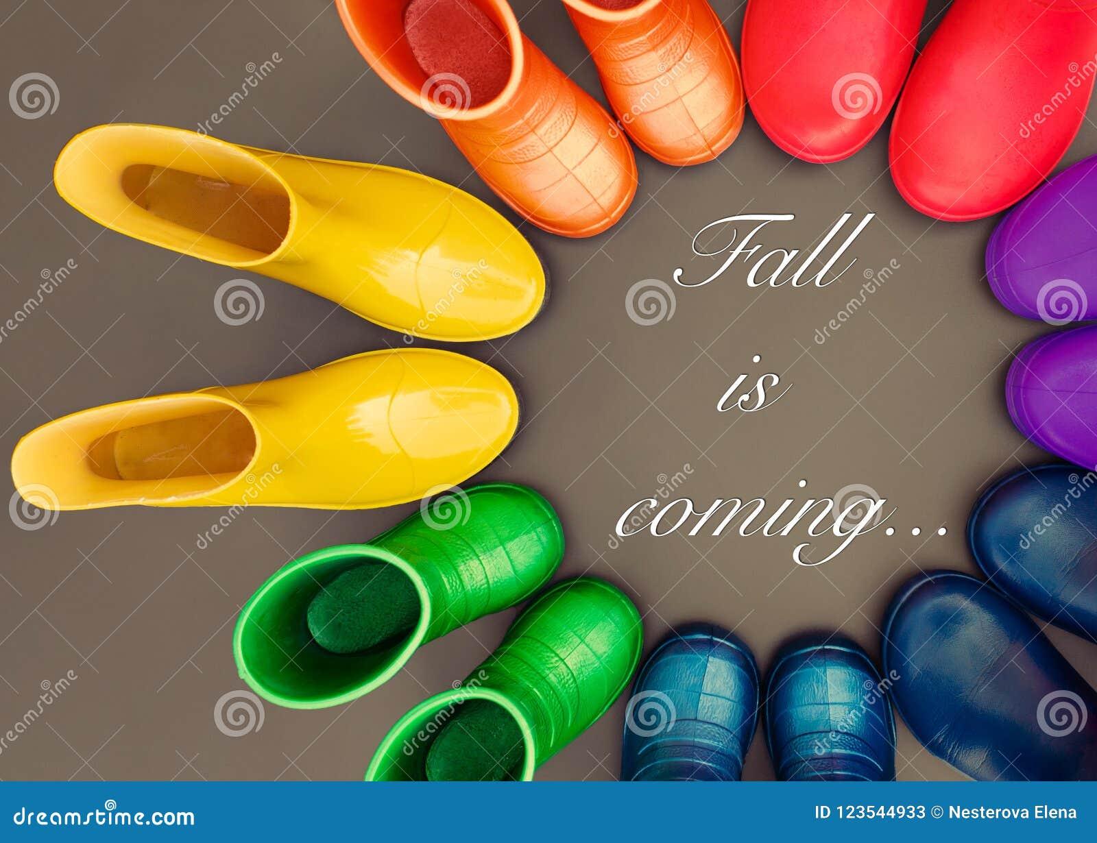 5c4c4b99c63 As botas de borracha coloridas de todas as cores do arco-íris estão na  superfície