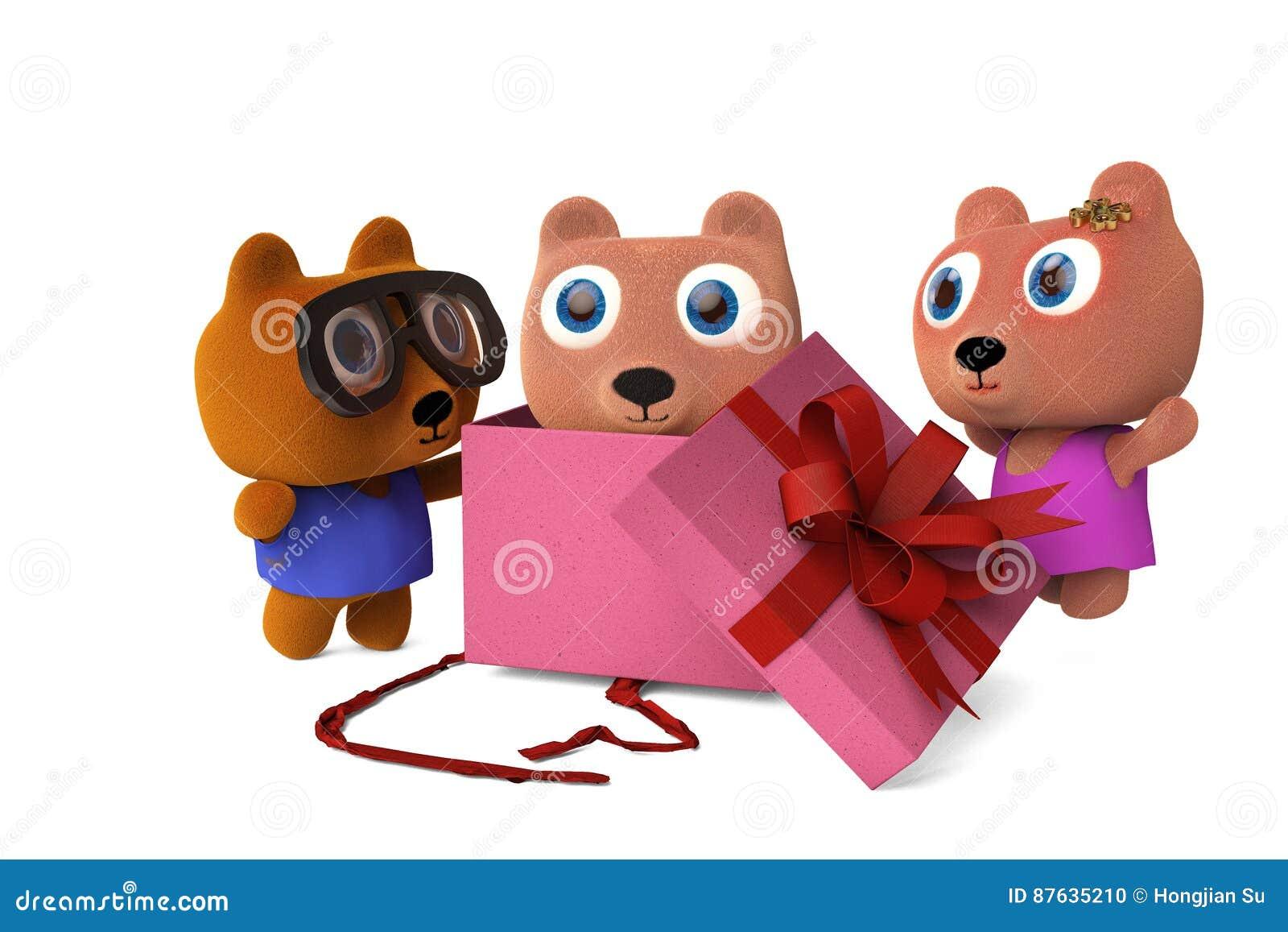 As caixas de presente abertas urso de Papa Bear e da mamãe, veem o bebê carregar, 3D arrancam