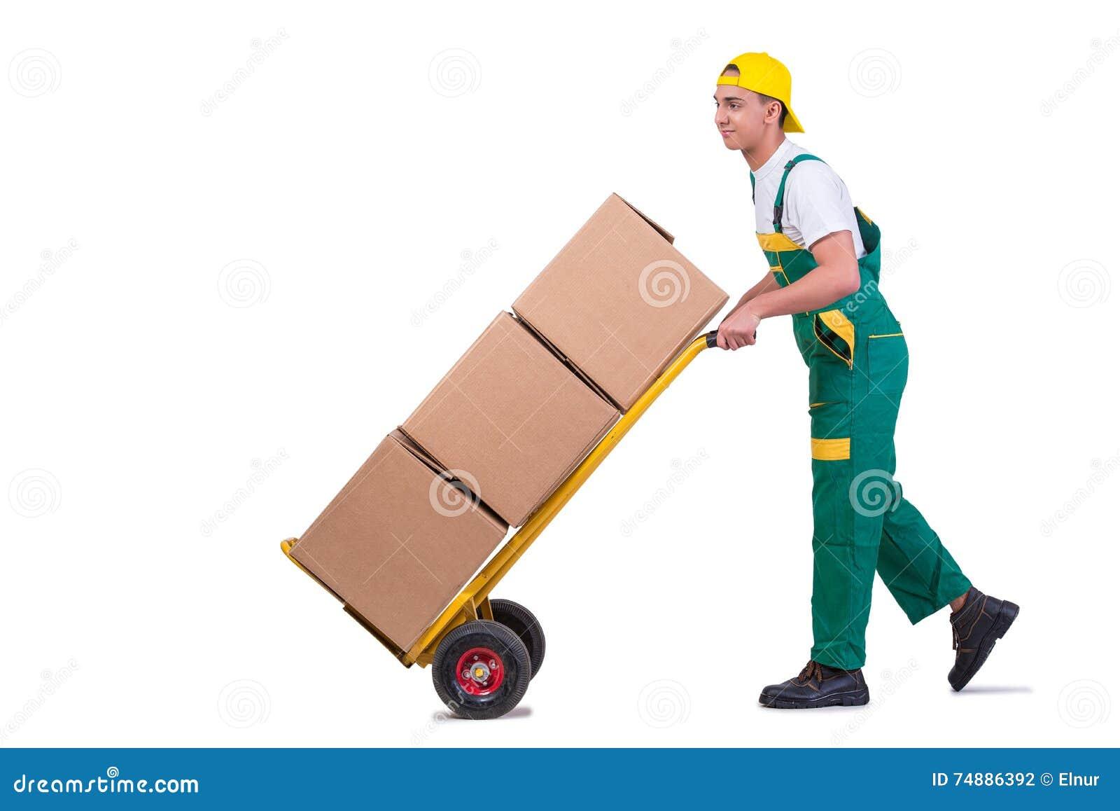 As caixas moventes do homem novo com o carro isolado no branco