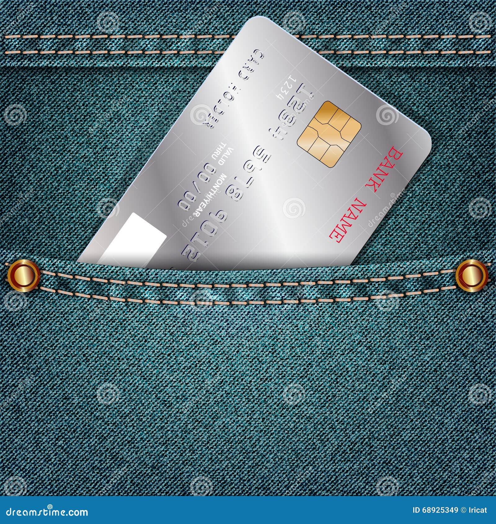 As calças de brim pocket com um único cartão de crédito de prata