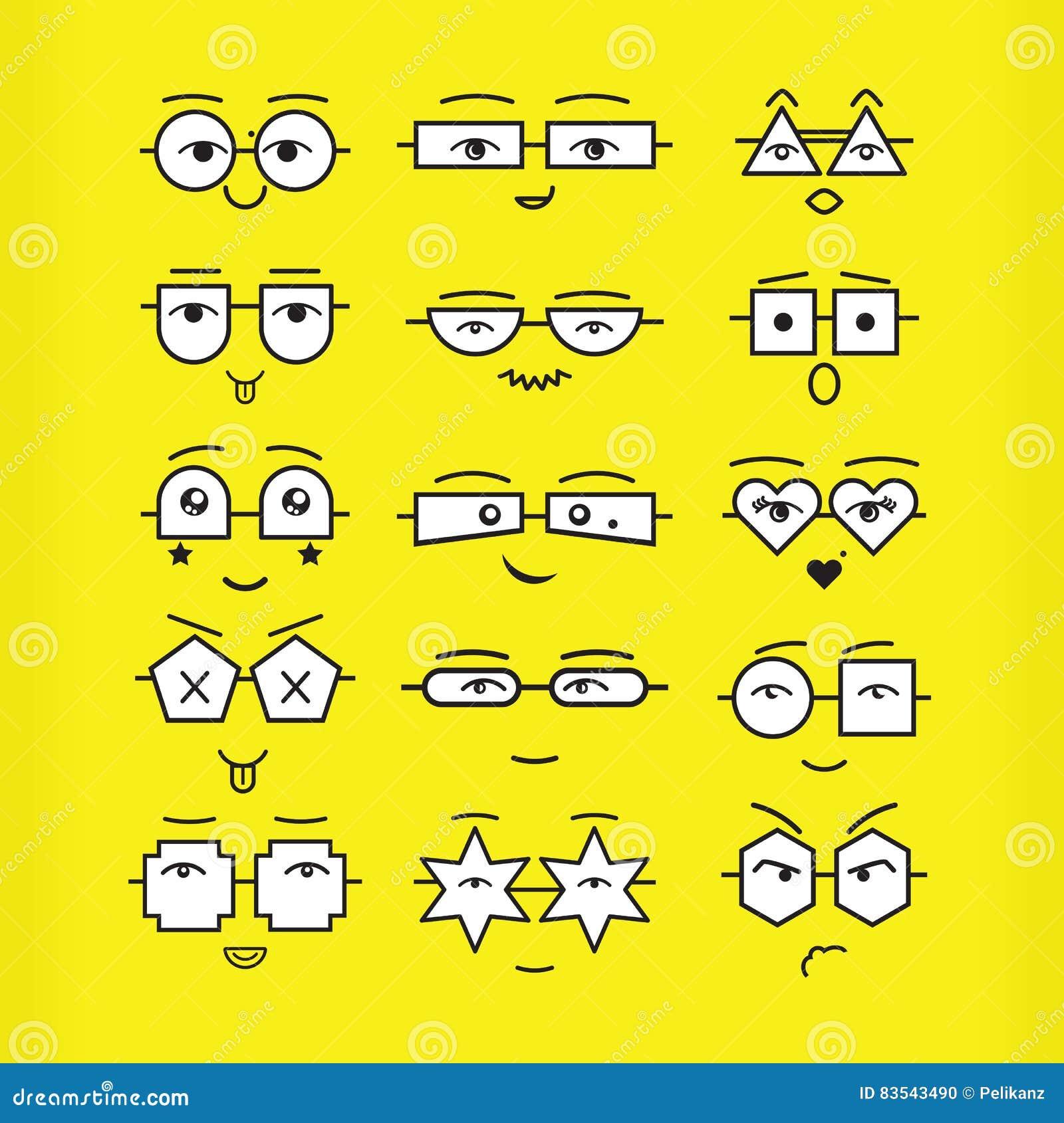 As caras pretas bonitos dos emoticons com ícones geométricos dos monóculos ajustaram-se no fundo amarelo