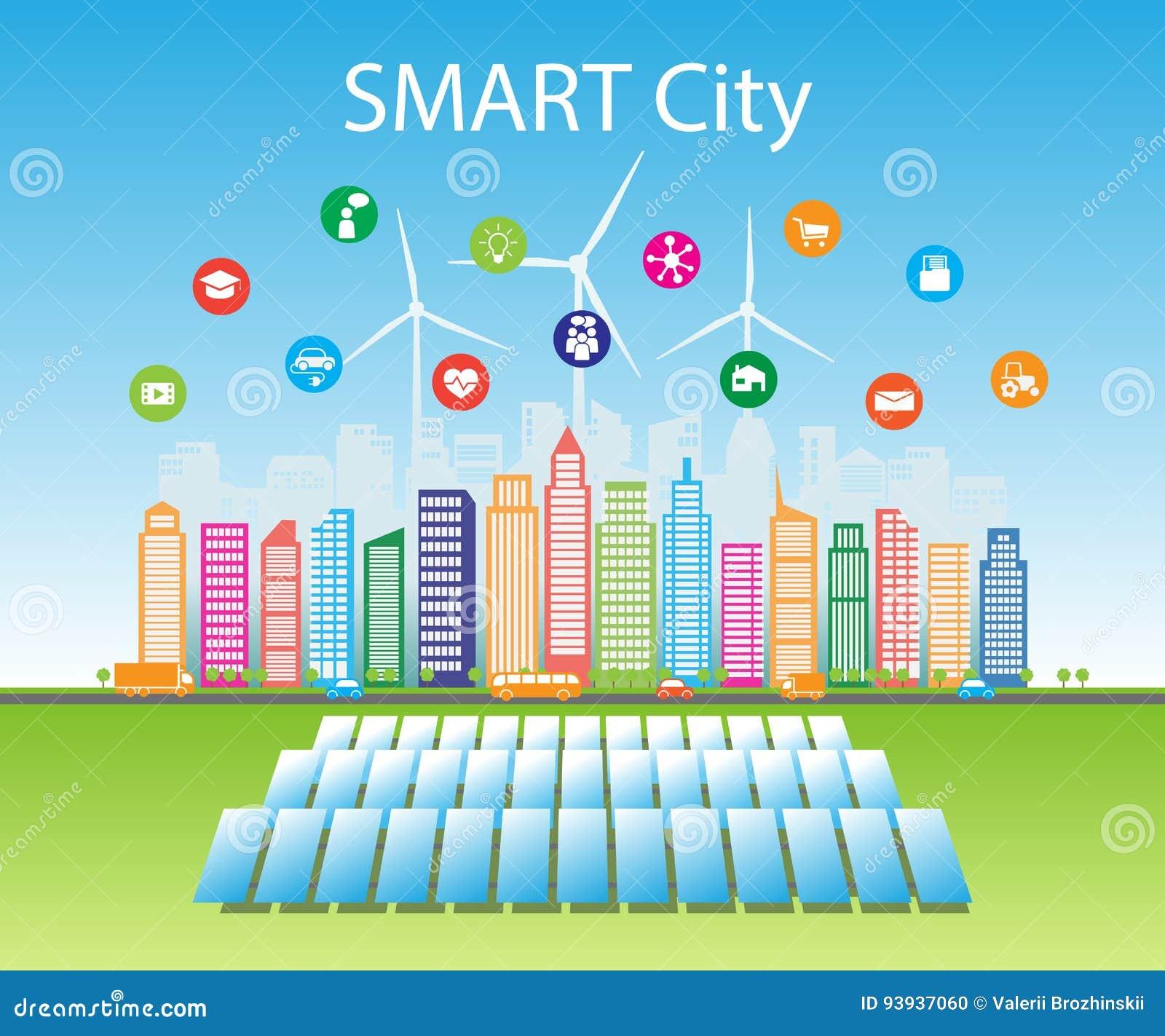 As cidades verdes espertas consomem fontes de energia naturais alternativas com serviços inteligentes avançados, redes sociais
