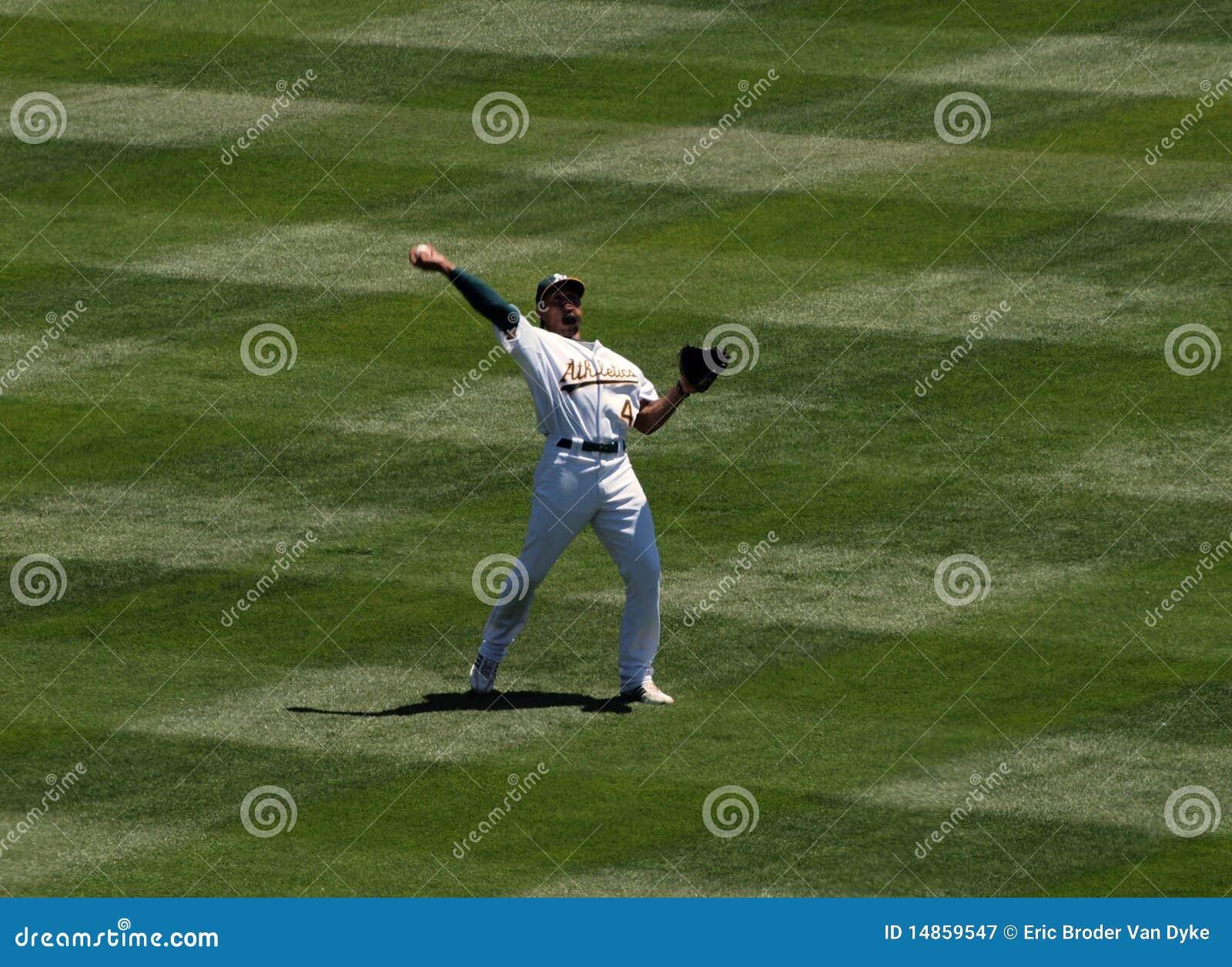 As Coco Crisp throws the ball
