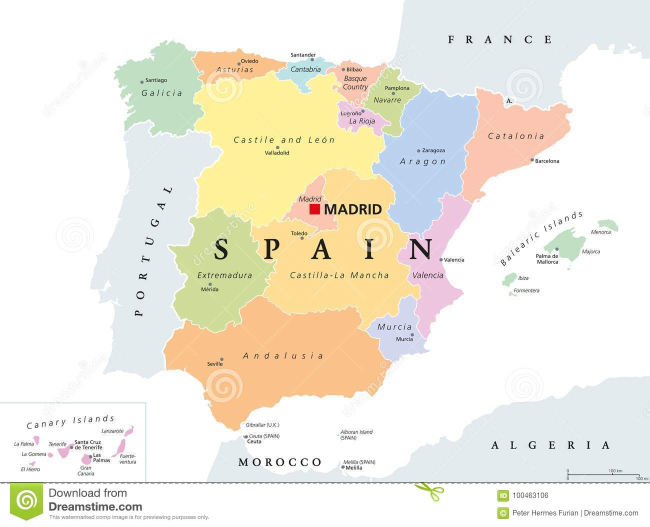 As Comunidades Autonomas Do Mapa Politico Da Espanha Ilustracao Do