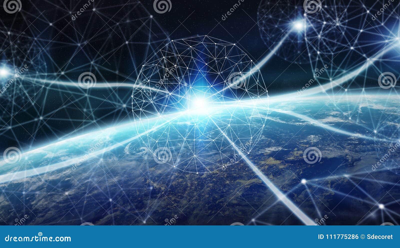 As conexões sistema e as trocas de dados na terra 3D do planeta rendem