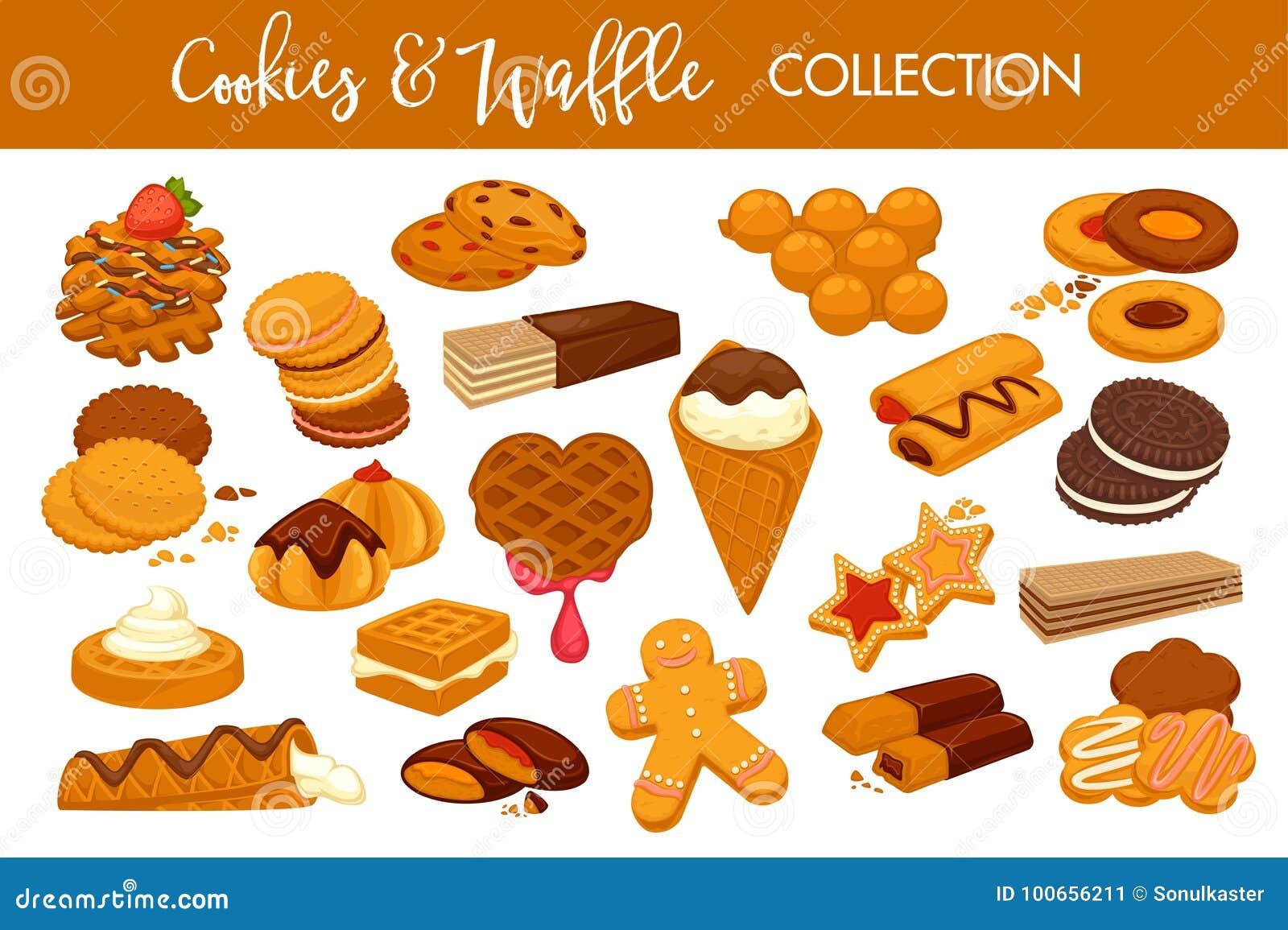 As cookies e os waffles deliciosos doces isolaram a coleção das ilustrações