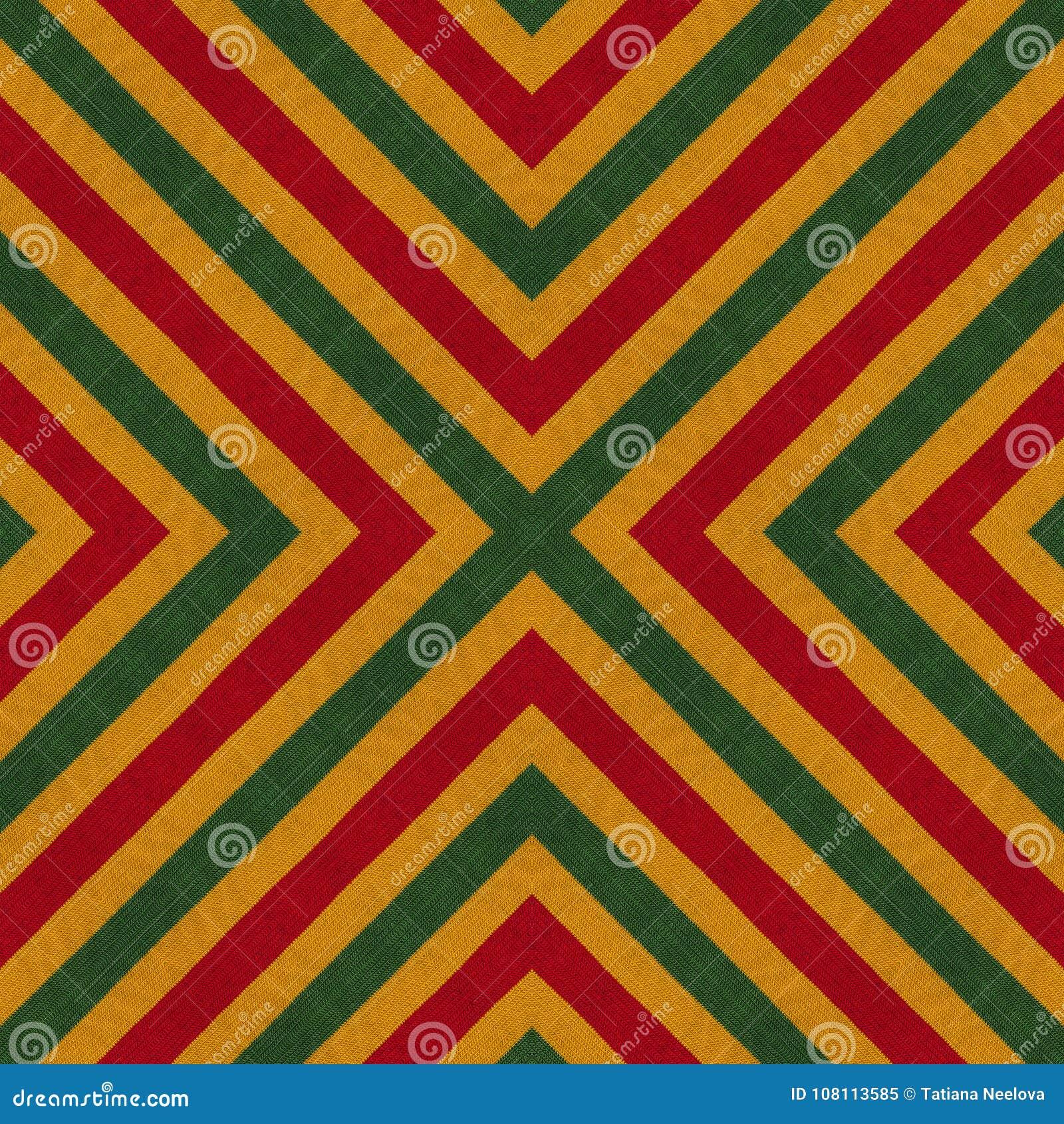 As cores da reggae fazem crochê o fundo feito malha do estilo, vista superior Colagem com reflexão de espelho com rombo Monta sem