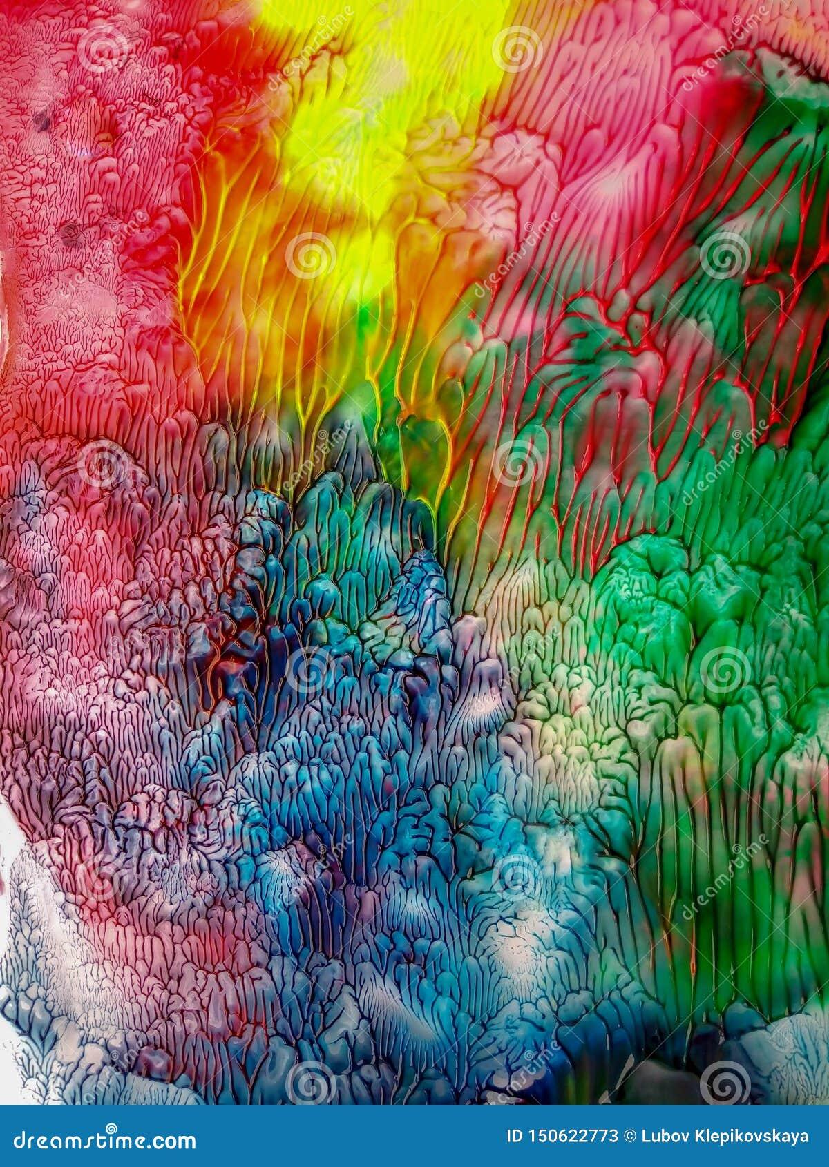 As cores vívidas da aquarela abstrata das manchas da aquarela espirram o fundo