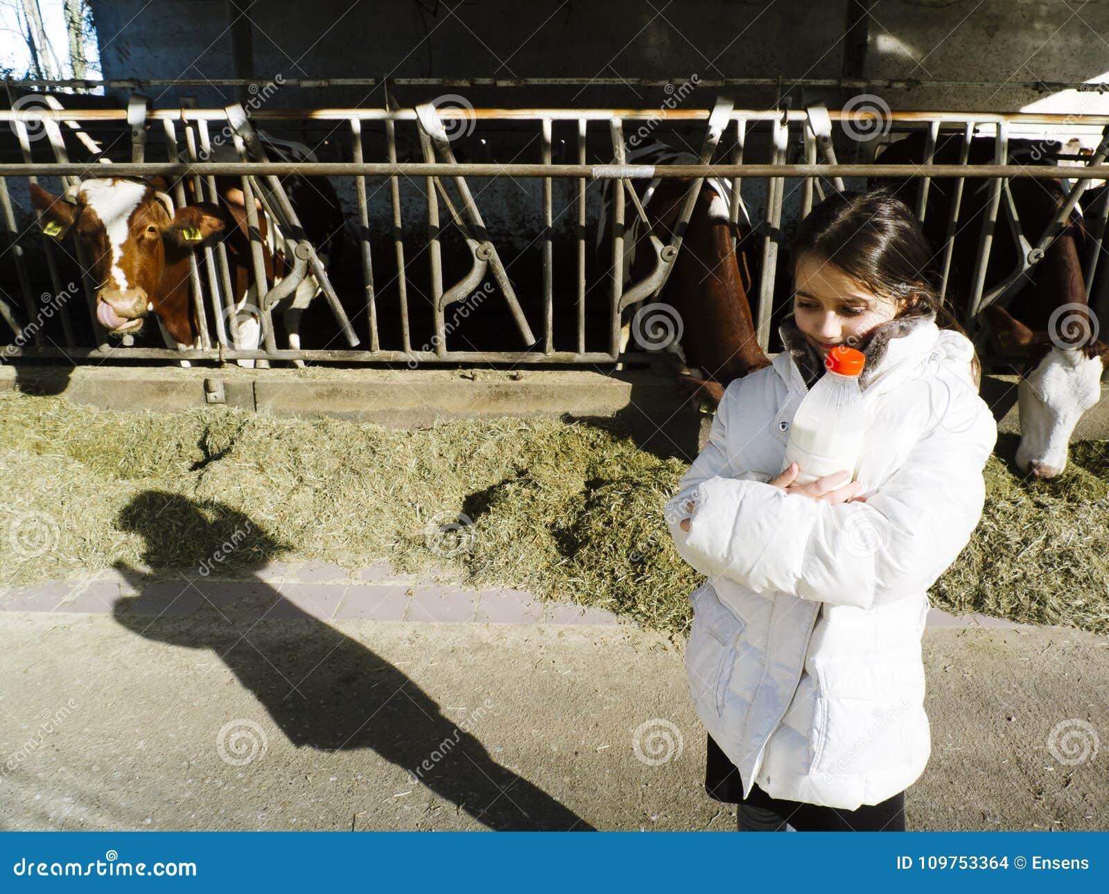 As crianças bebem o leite fresco, das garrafas em uma exploração agrícola, atrás do th