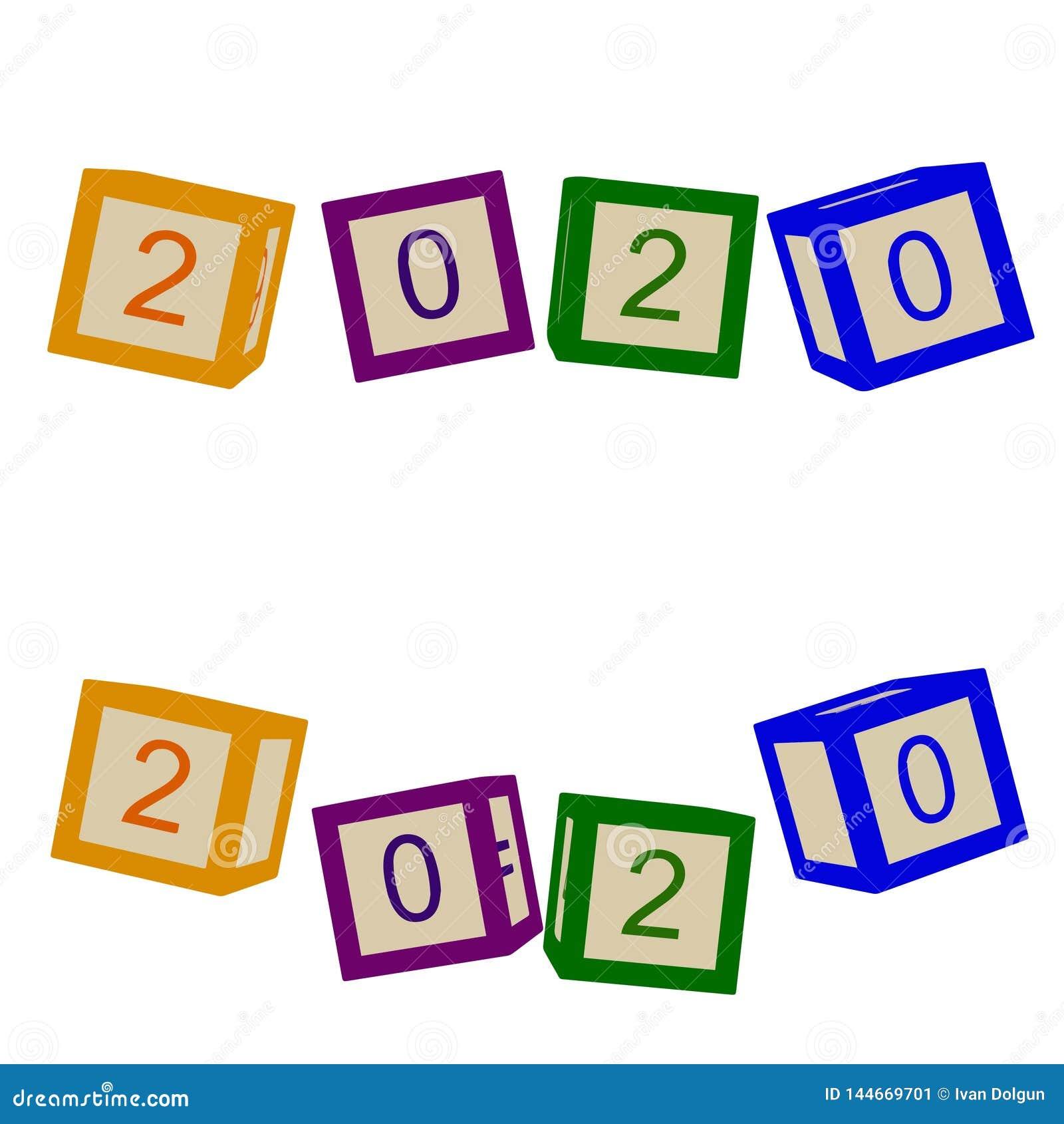 As crianças colorem cubos com letras 2020 anos