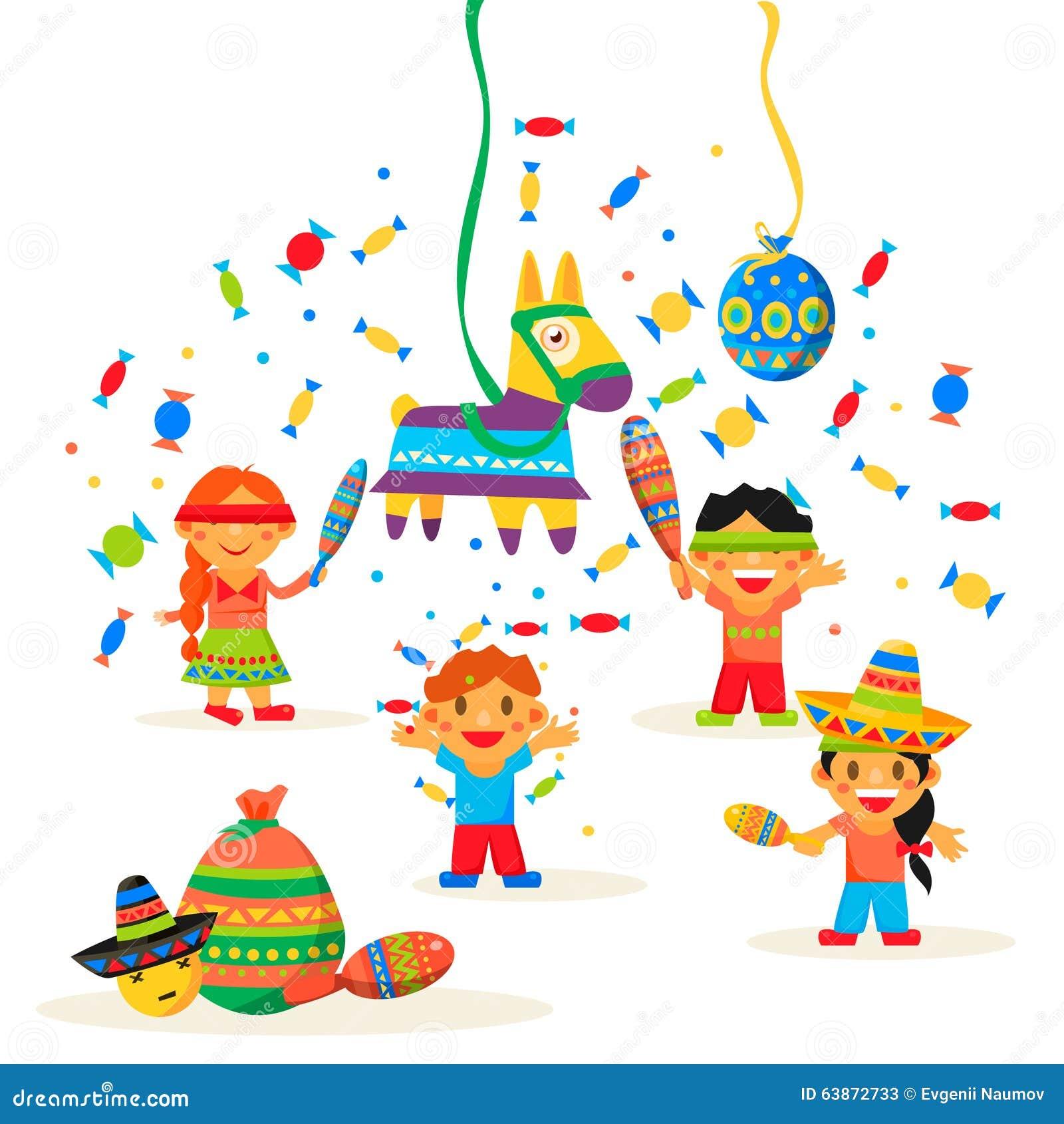 As crianças comemoram Posada, quebrando