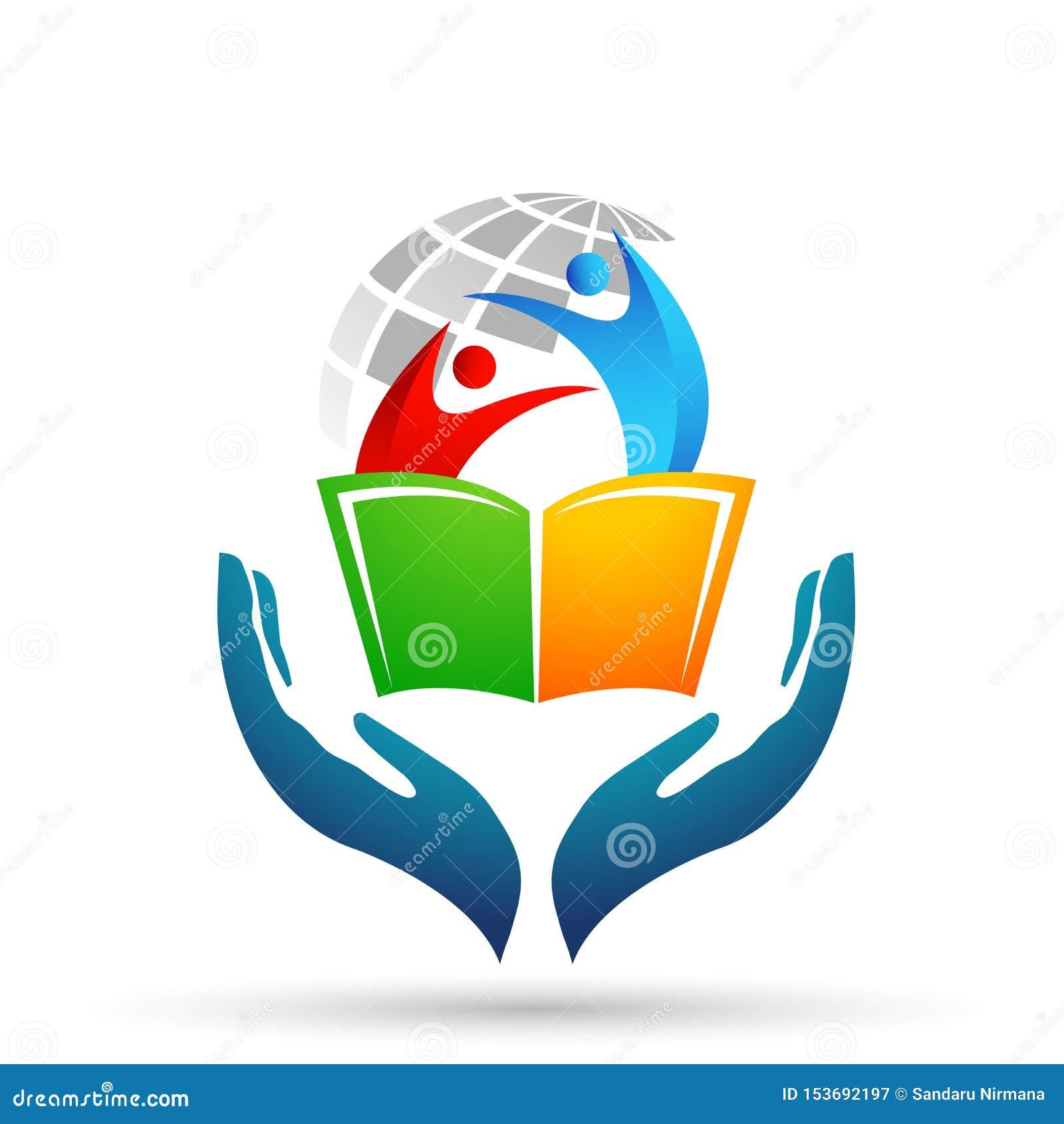 As crianças do logotipo das mãos do cuidado da educação do mundo do globo educam o ícone das crianças dos livros
