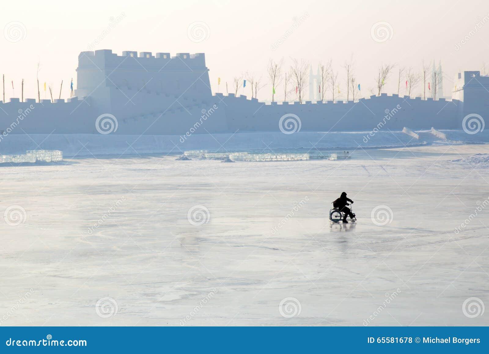 As crianças mostram em silhueta no lago congelado