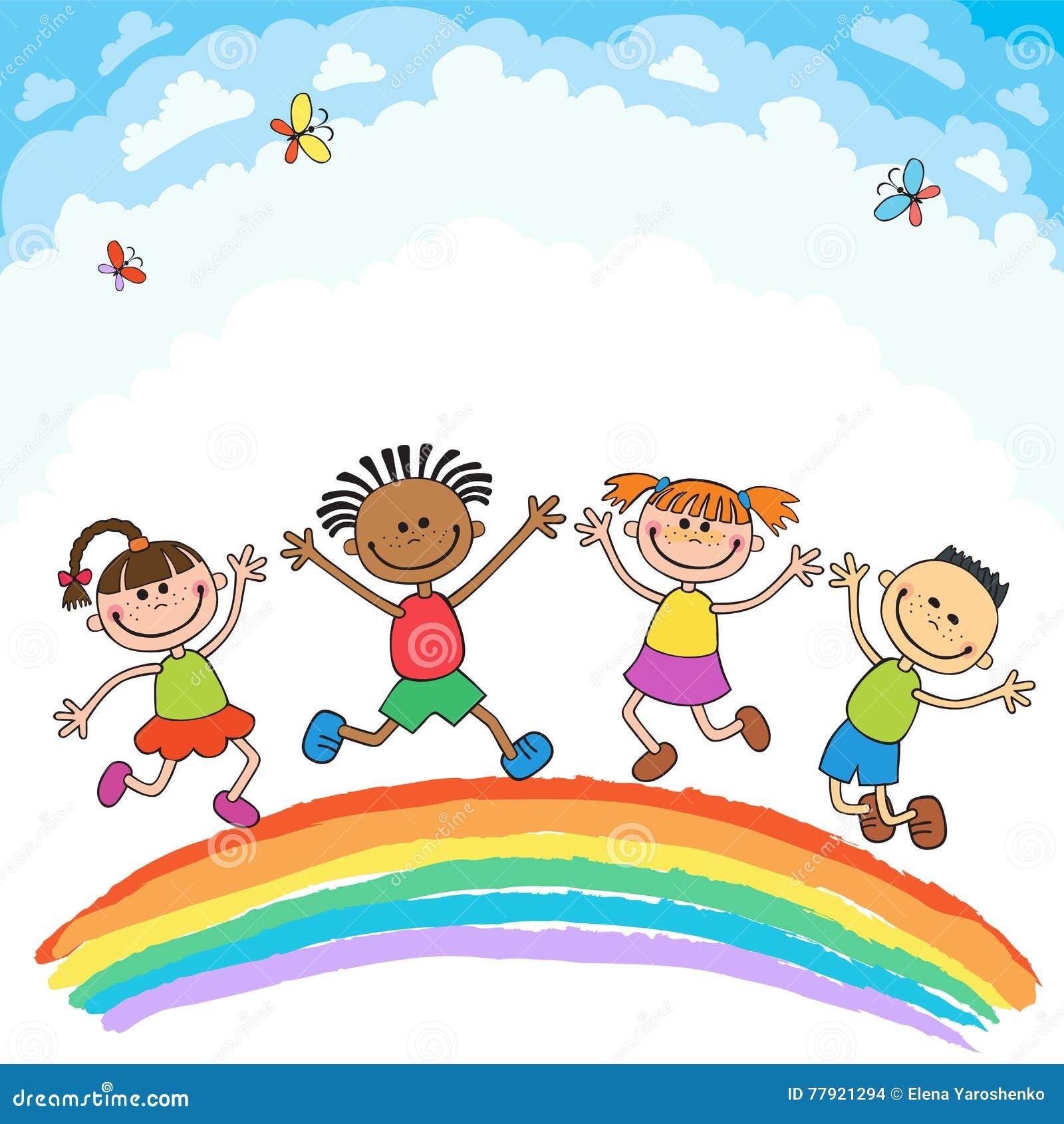 As Criancas Que Saltam Com Alegria Em Um Monte Sob O Arco Iris