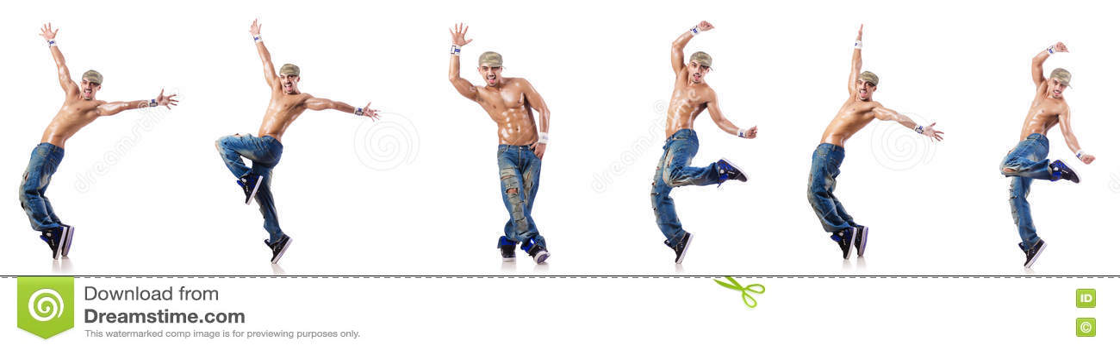 As danças da dança do dançarino isoladas no branco