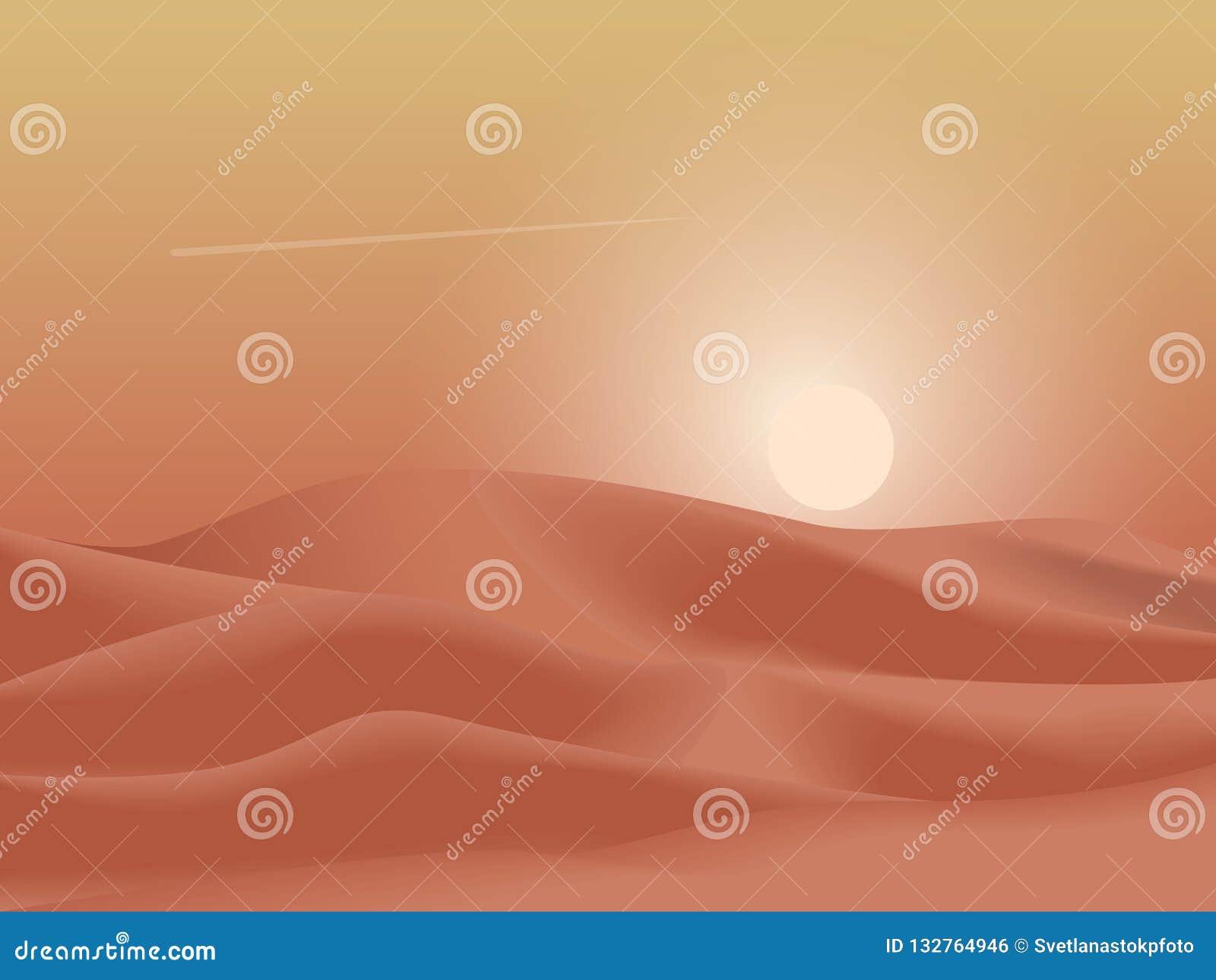 As dunas do deserto do por do sol ajardinam o fundo Ilustração lisa simples do vetor do minimalismo