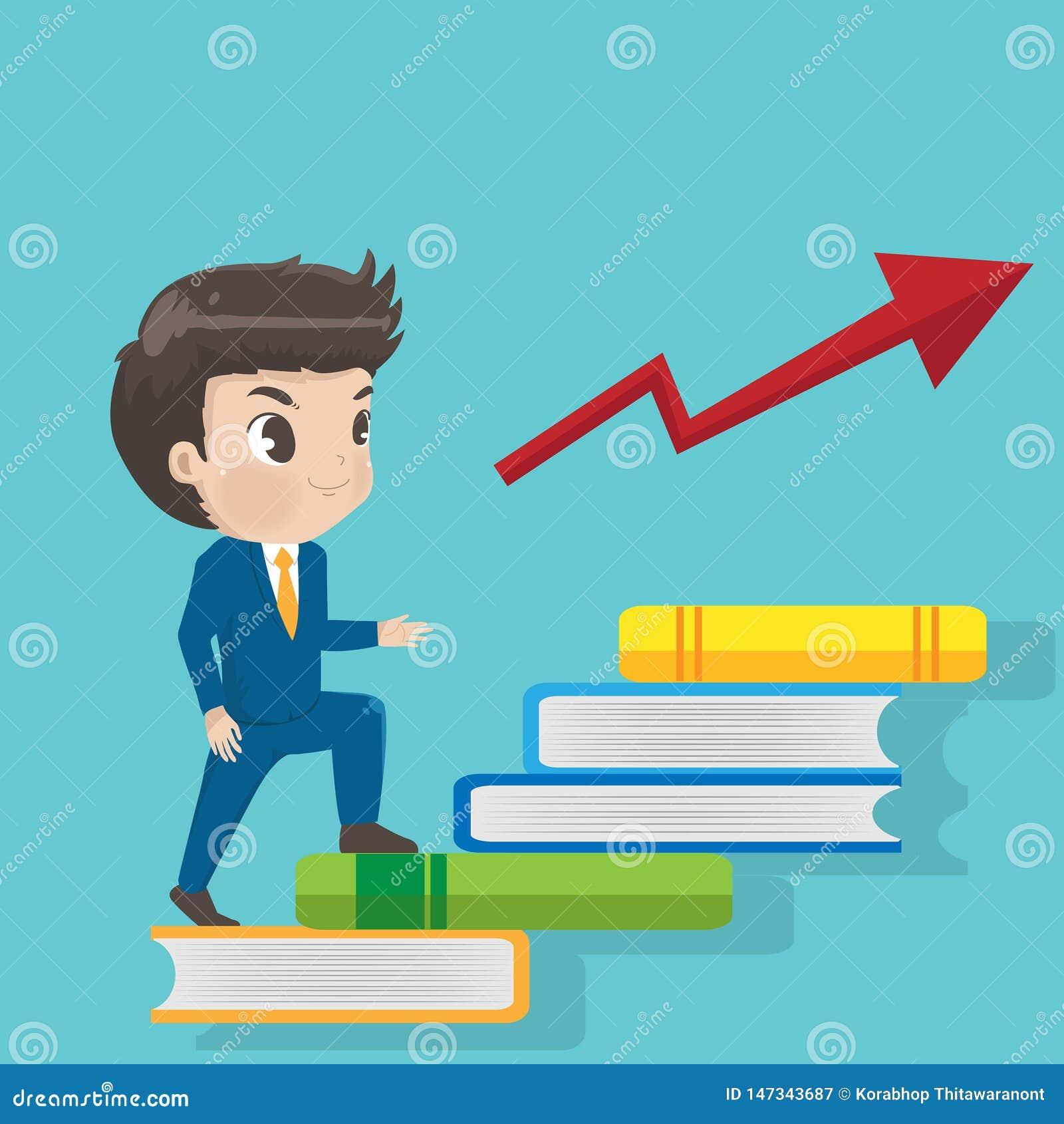 As escadas da caminhada do homem de negócios registram ao sucesso