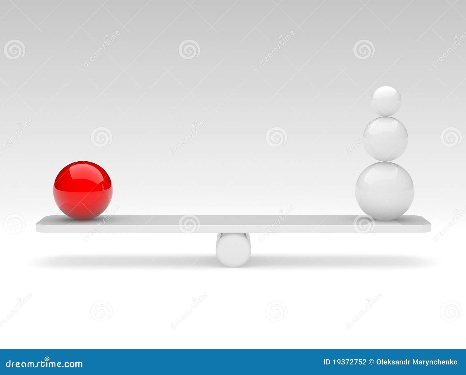 As esferas comparam (o conceito do balanço)
