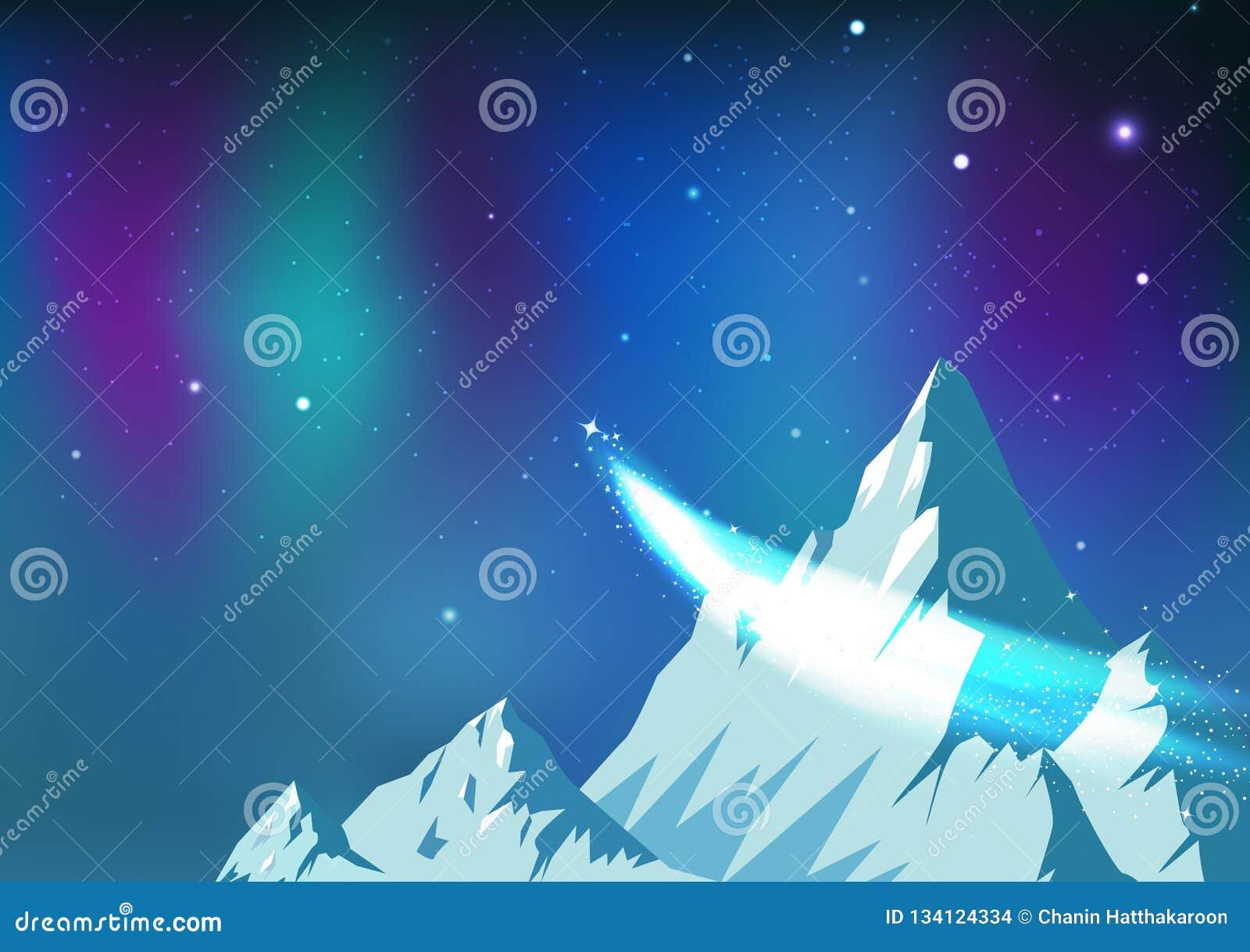 As estrelas dispersam, cometa que viaja no céu noturno com Aurora, montanhas do gelo da constelação da astronomia da fantasia aja
