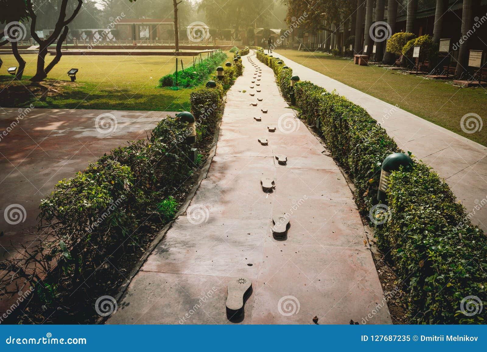 As etapas do último traços que conduzem ao local do assassinato do pai da nação indiana Mahatma