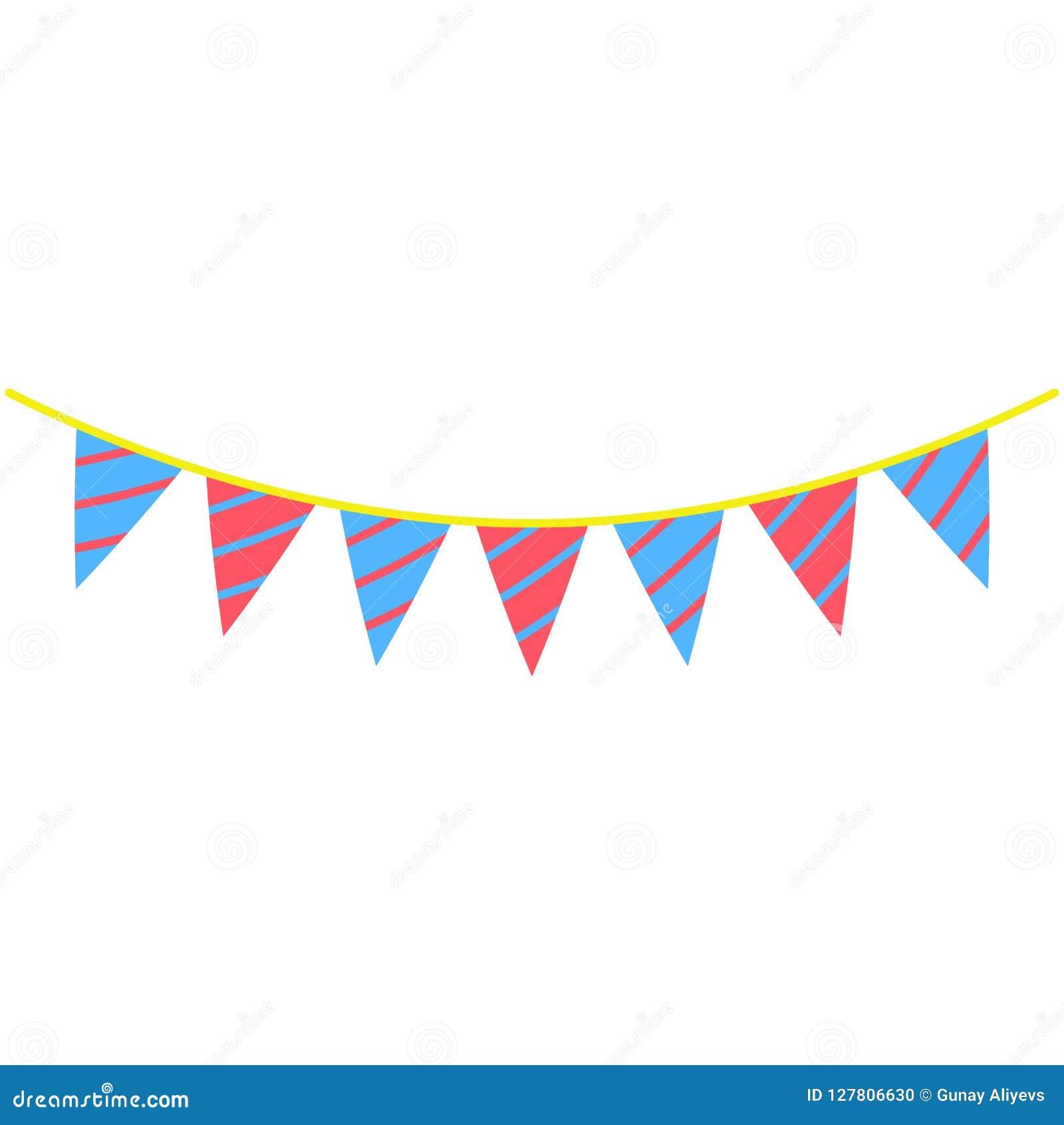 As festões, bandeiras do partido coloriram o ícone O elemento de fogos-de-artifício coloridos party o ícone para apps móveis do c
