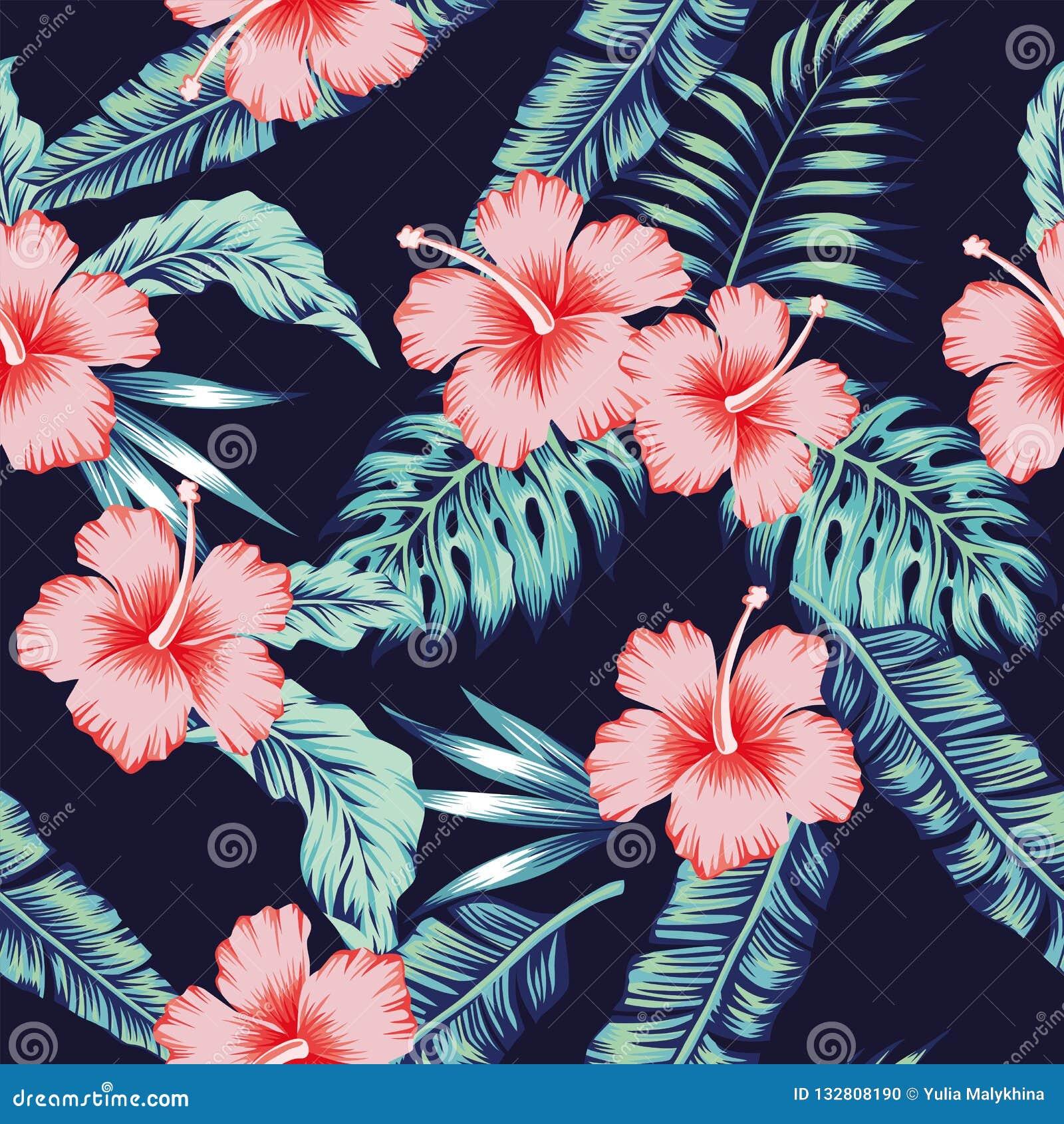 As folhas de palmeira cor-de-rosa do monstera do hibiscus das flores modelam sem emenda