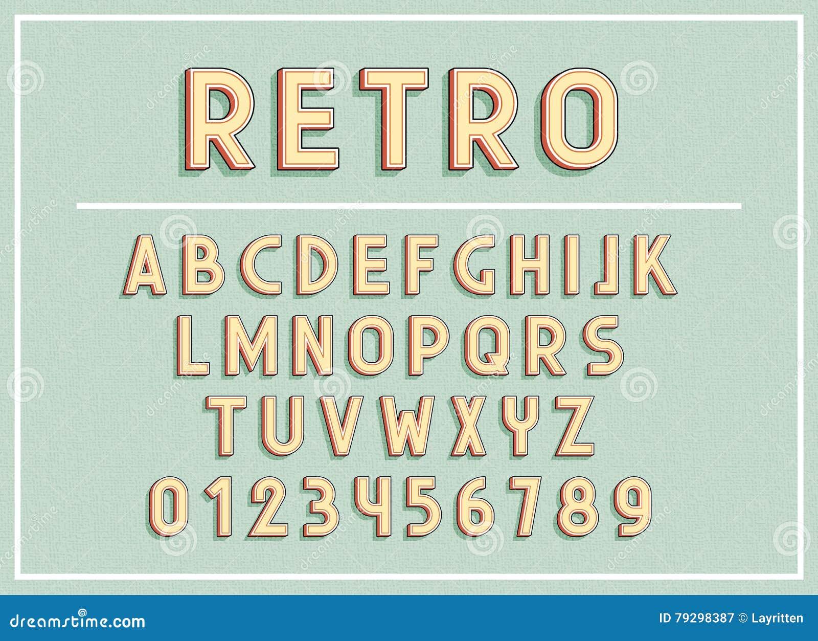 1335ac44d As fontes retros e as letras do ABC imprimem a ilustração do vetor da  tipografia