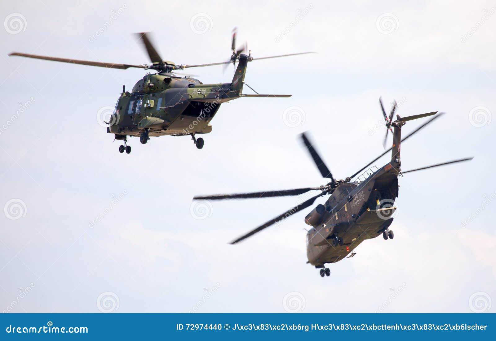 As forças armadas alemãs transportam helicópteros, nh 90 e ch 53