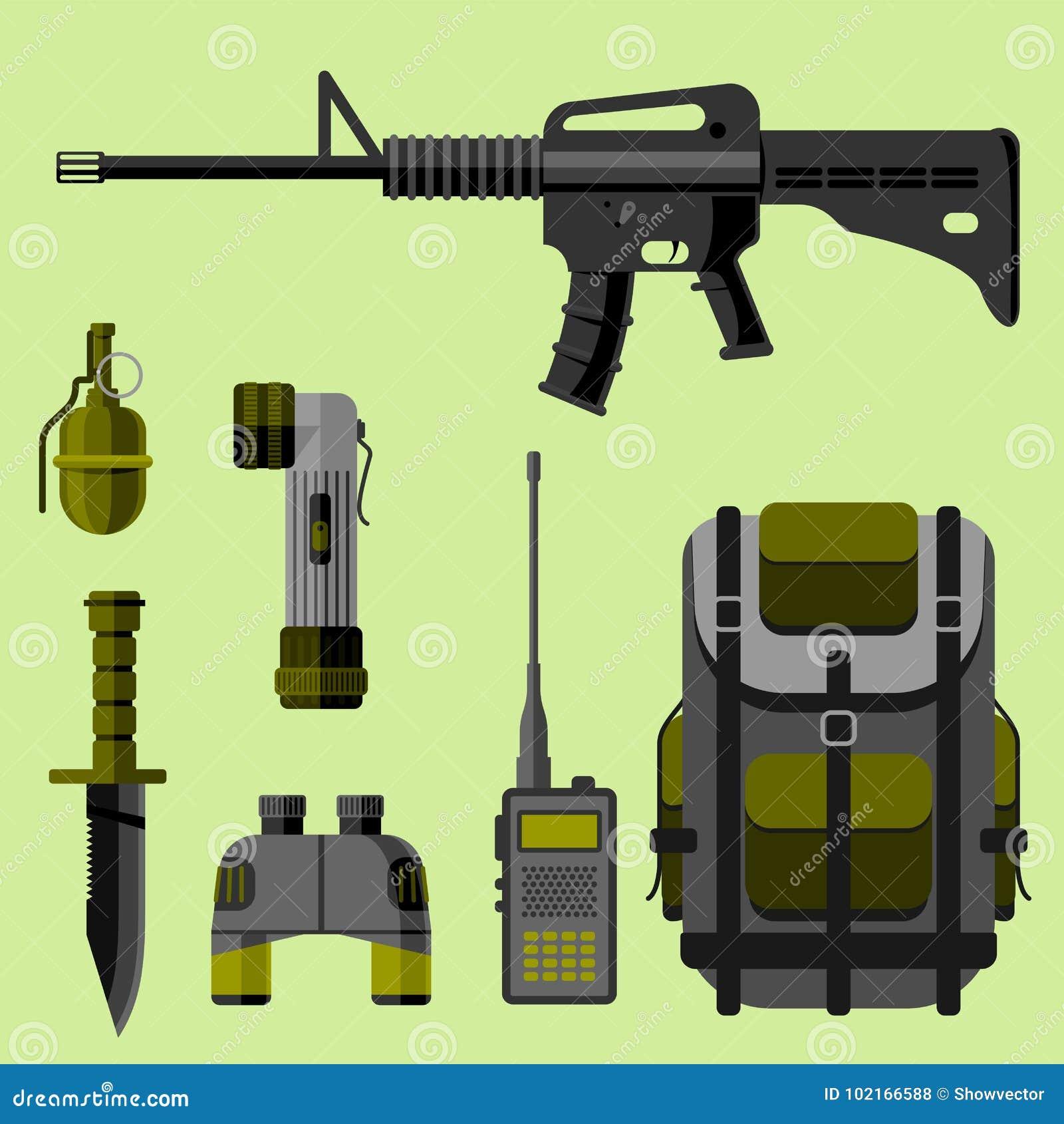 As forças militares da armadura das armas da arma projetam e ilustração americana do vetor da camuflagem da marinha da munição do
