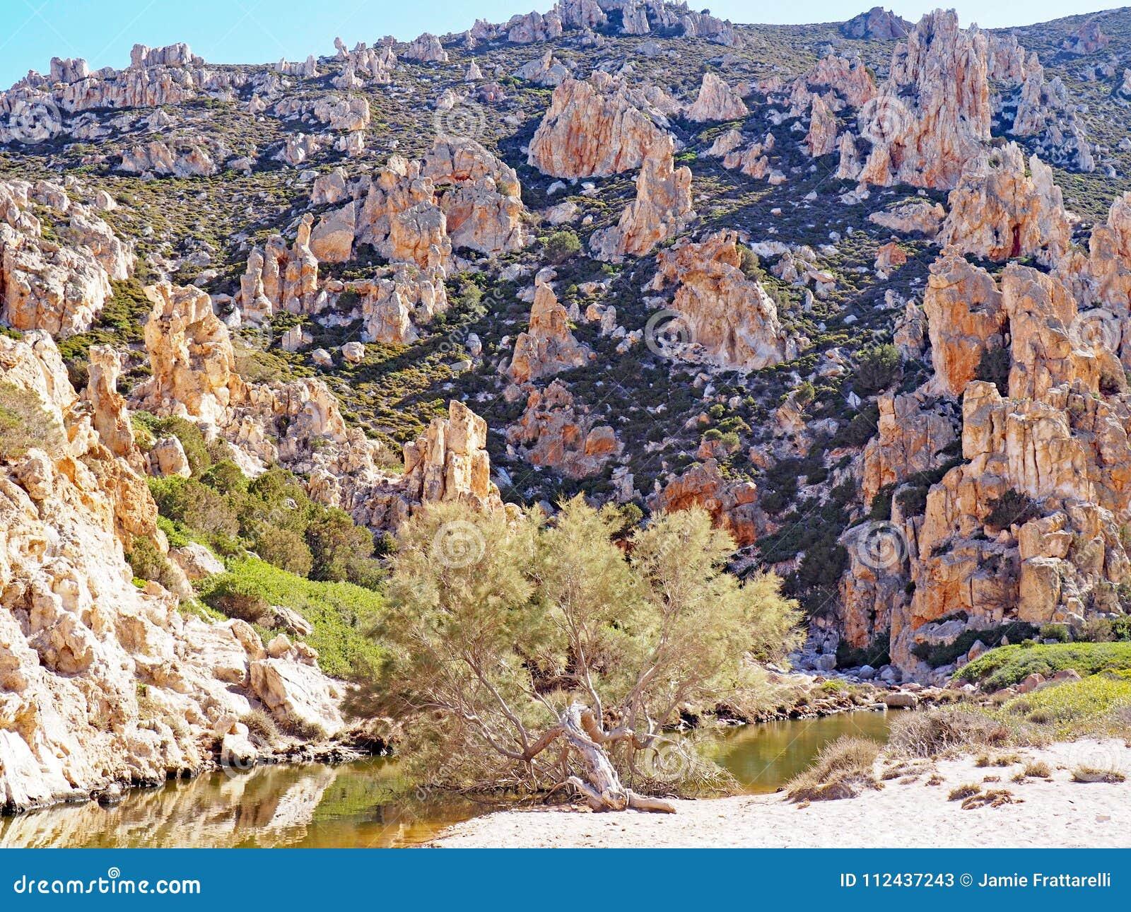 As formações de Polyaigos, uma ilha dos penhascos e de rocha dos Cyclades gregos