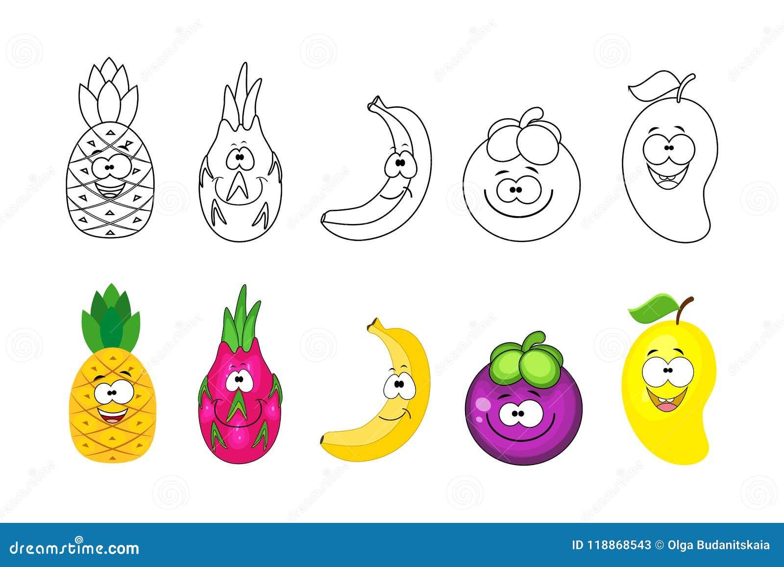 As Frutas Dos Desenhos Animados Ajustaram Se Paginas Do Livro Para