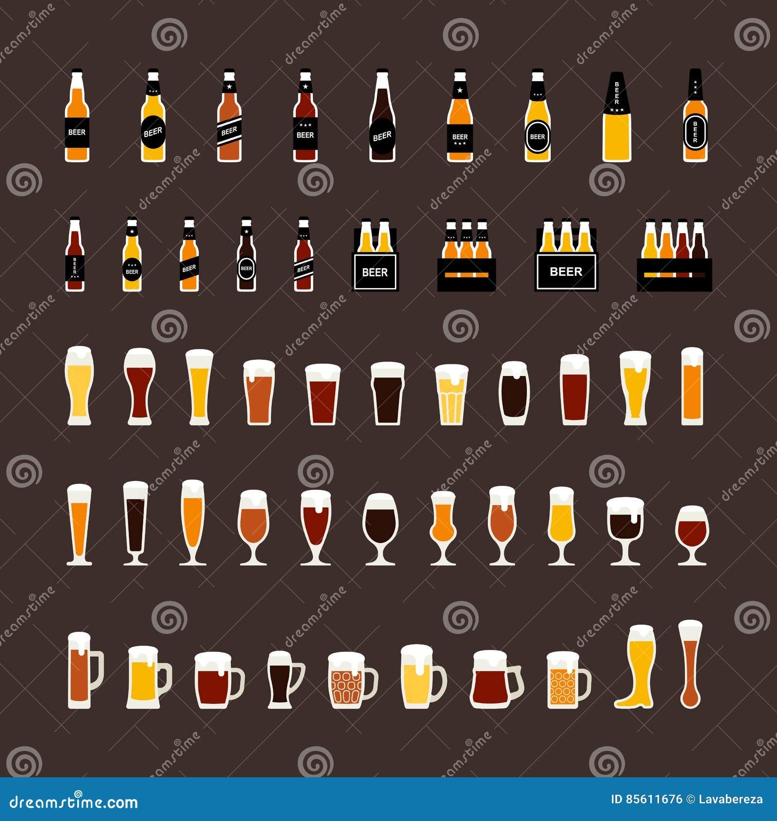 As garrafas de cerveja e os ícones coloridos vidros ajustaram-se no estilo liso Vetor
