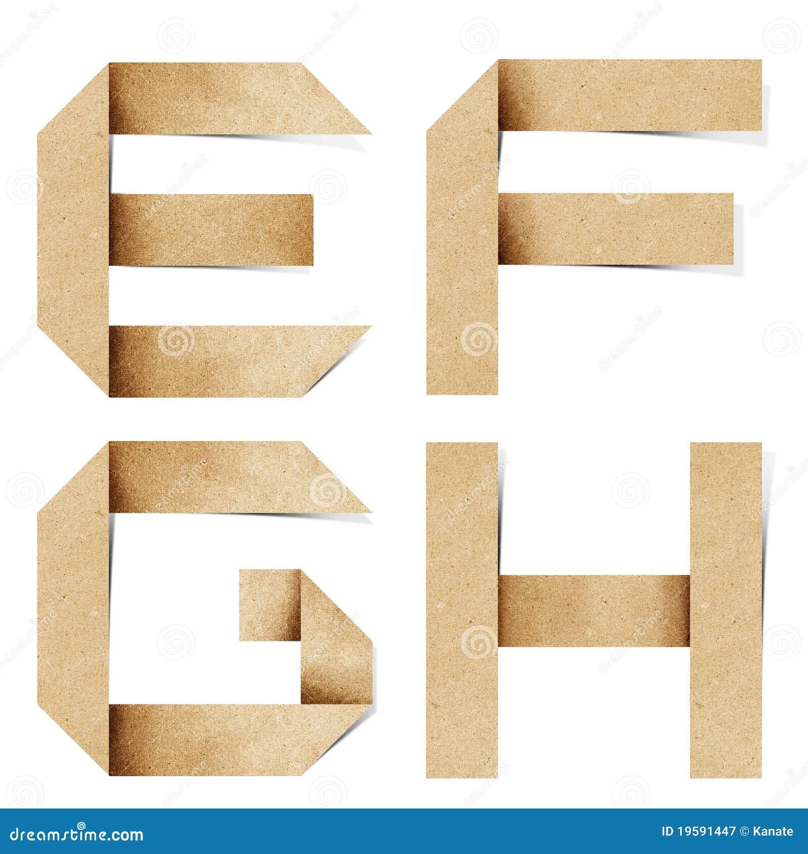 As letras do alfabeto de Origami recicl o ofício de papel
