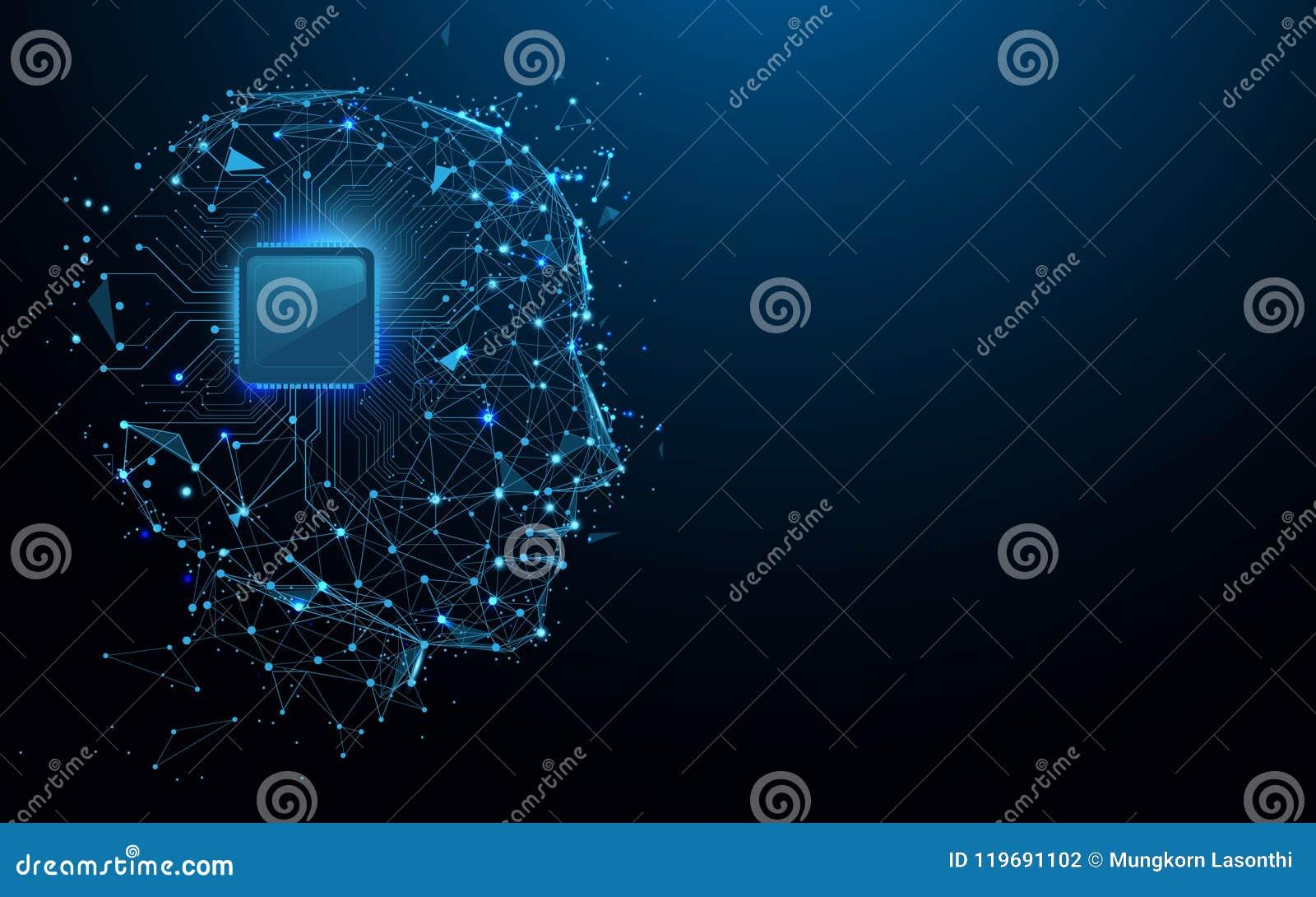 As linhas do formulário da cabeça e do chip de computador, os triângulos e o estilo da partícula projetam