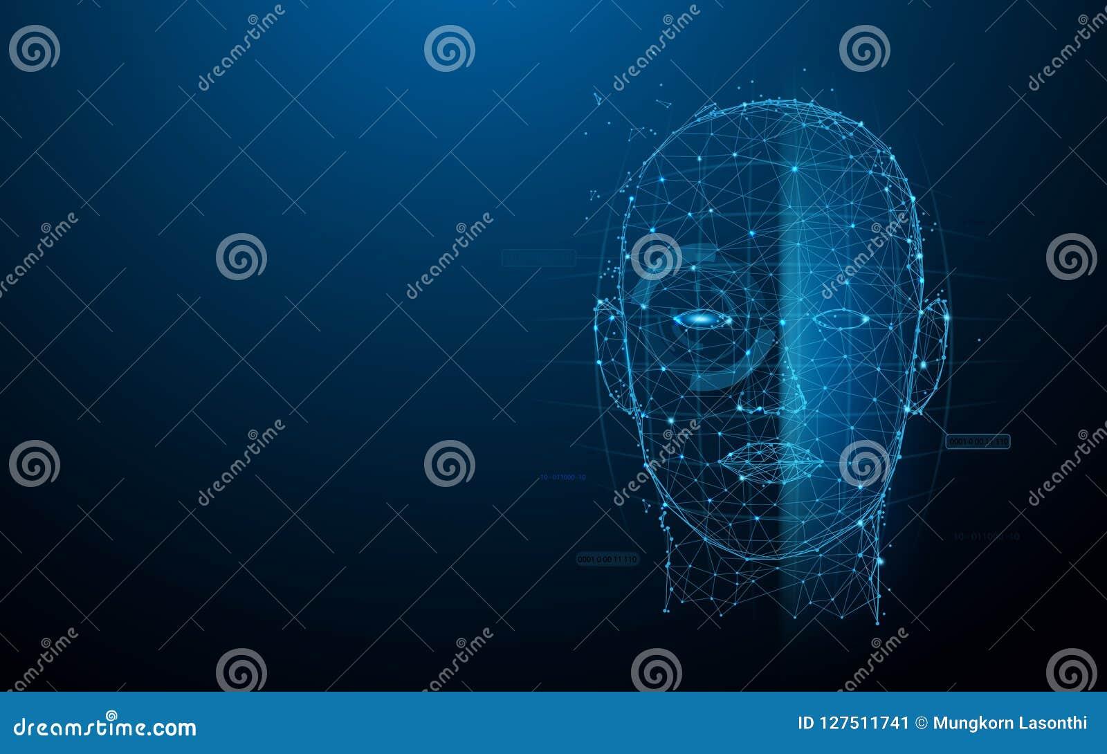 As linhas do formulário da exploração da cara da tecnologia biométrica, os triângulos e o estilo digitais da partícula projetam