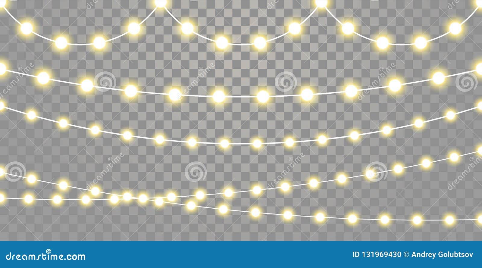 As luzes de Natal isolaram cordas da lâmpada da festão no fundo transparente