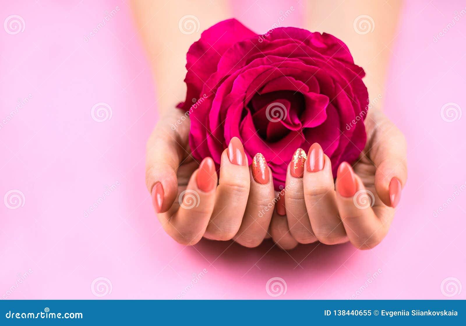 As mãos da mulher com terra arrendada coral do tratamento de mãos aumentaram