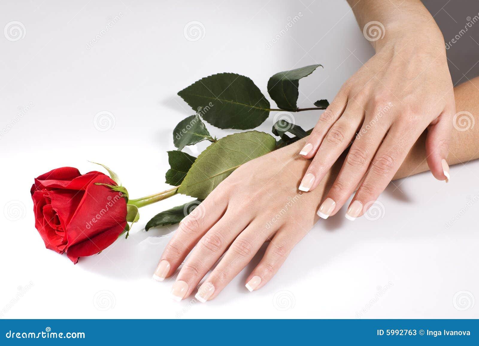 As mãos da mulher com vermelho levantaram-se