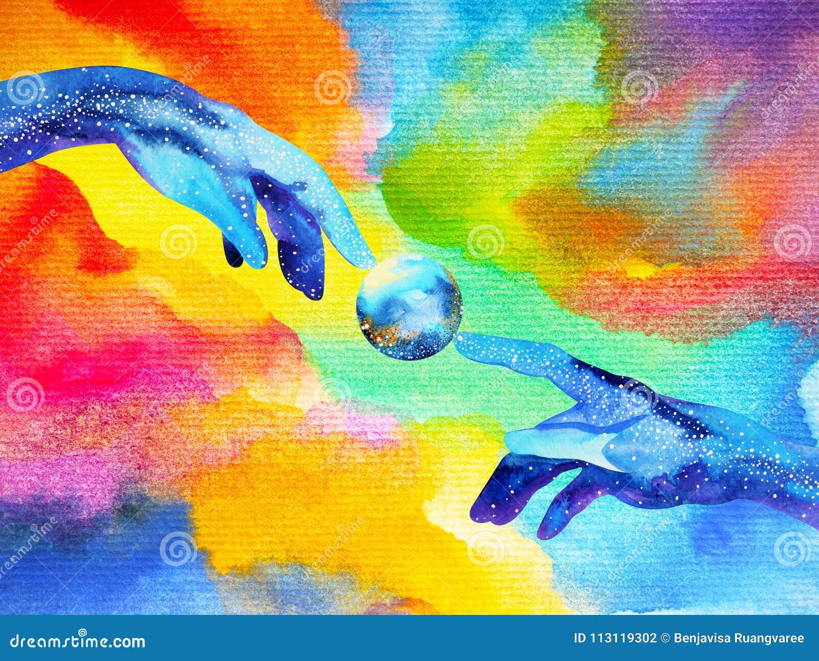 As mãos do deus conectam a uma outra pintura da aquarela do projeto da ilustração do mundo