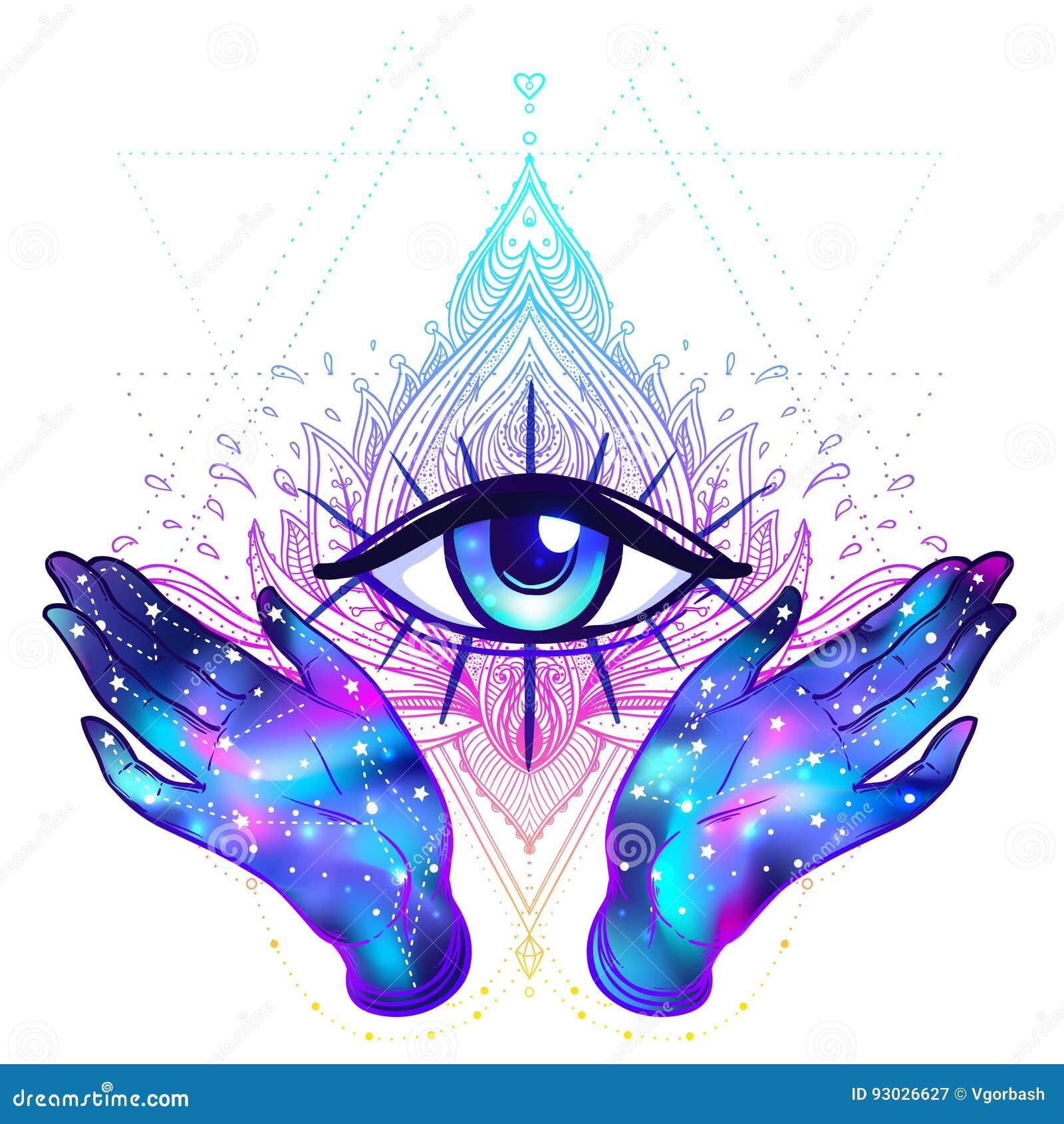 As mãos fêmeas com interior da galáxia abrem em torno do símbolo maçônico novo