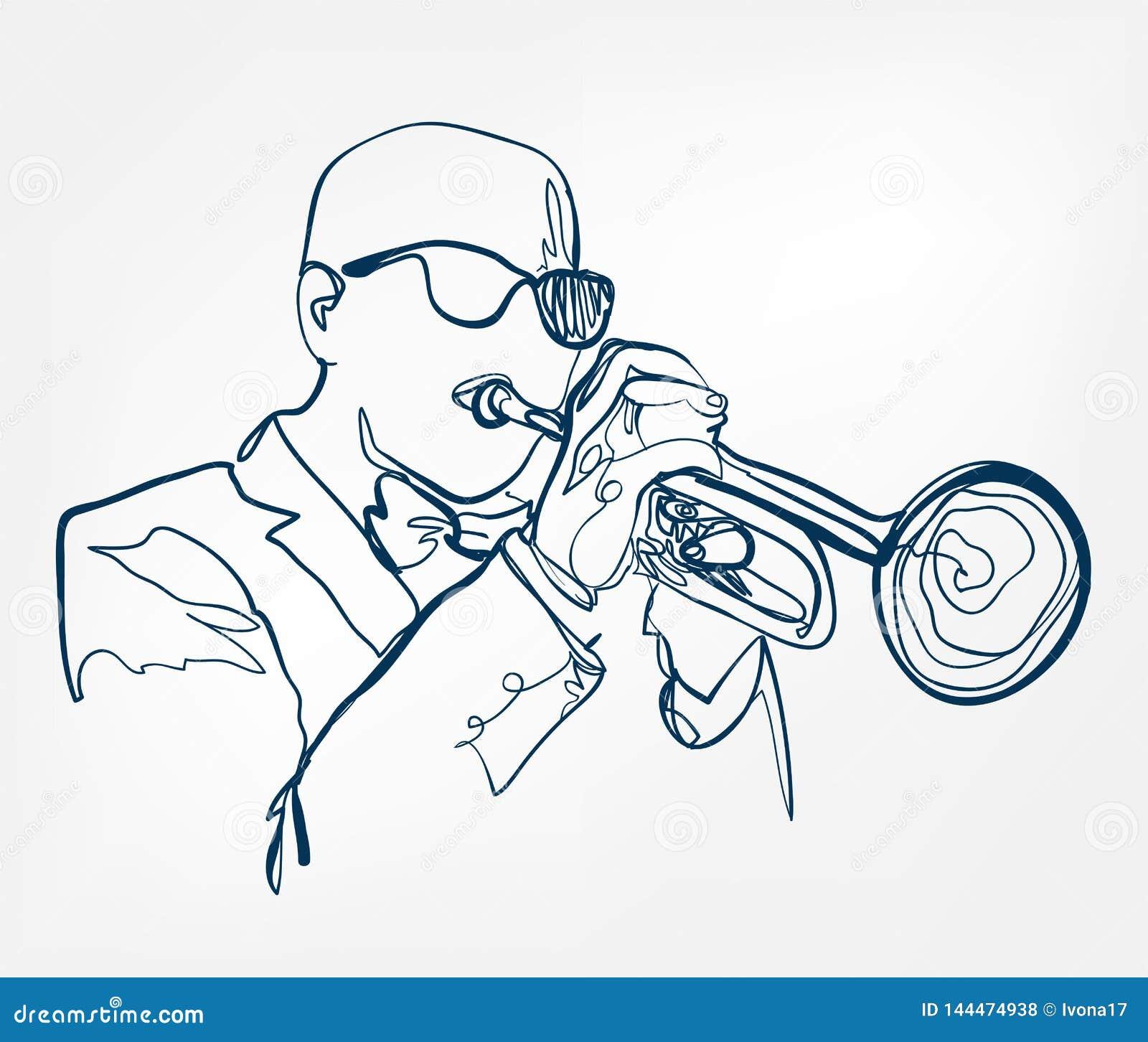 As mãos tocam trombeta linha instrumento do esboço de música do projeto