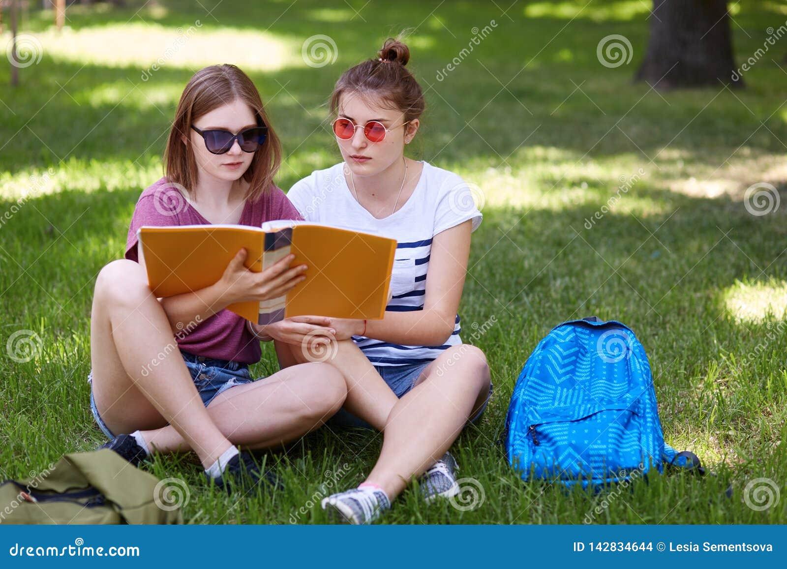 As moças que sentam-se na grama no parque e preparam-se para classes, vestem a roupa ocasional e os óculos de sol, sentam-se com