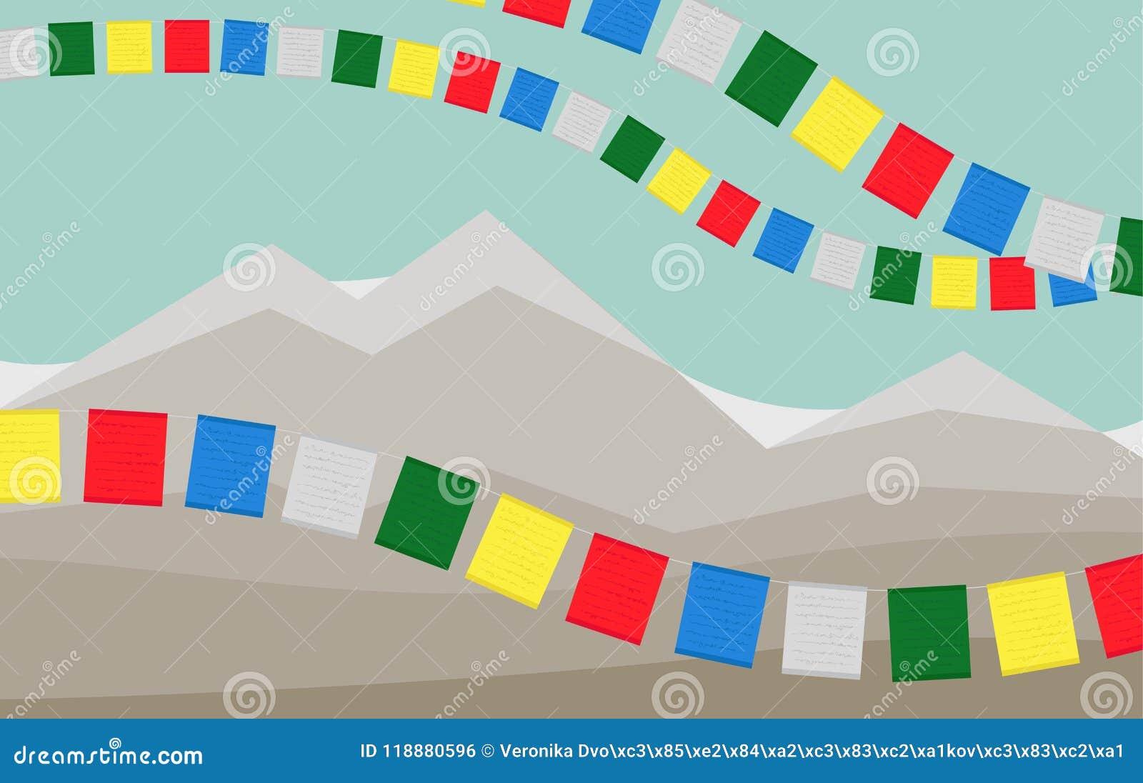 As montanhas com as bandeiras tibetanas coloridas da oração