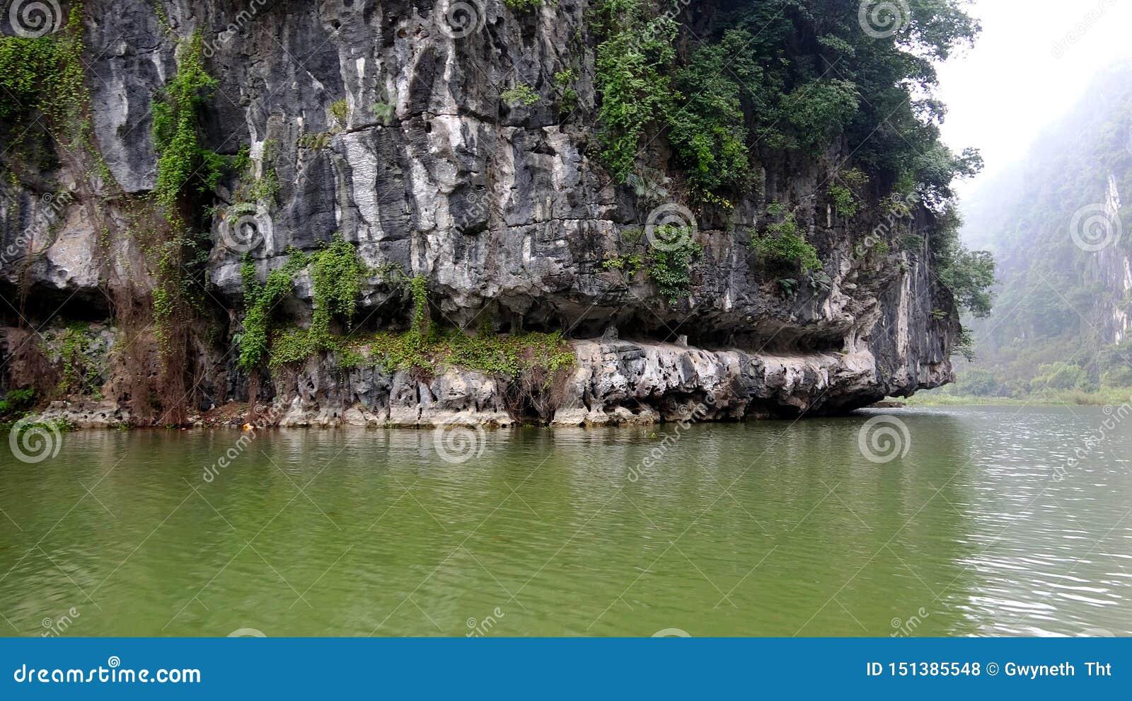 As montanhas da rocha são corroídas por árvores e por água