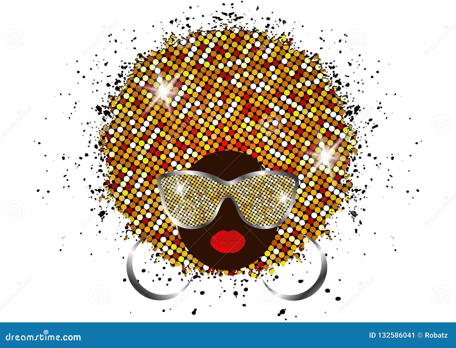 As mulheres africanas do retrato, a cara fêmea da pele escura com o afro brilhante do cabelo e o ouro metal óculos de sol no turb