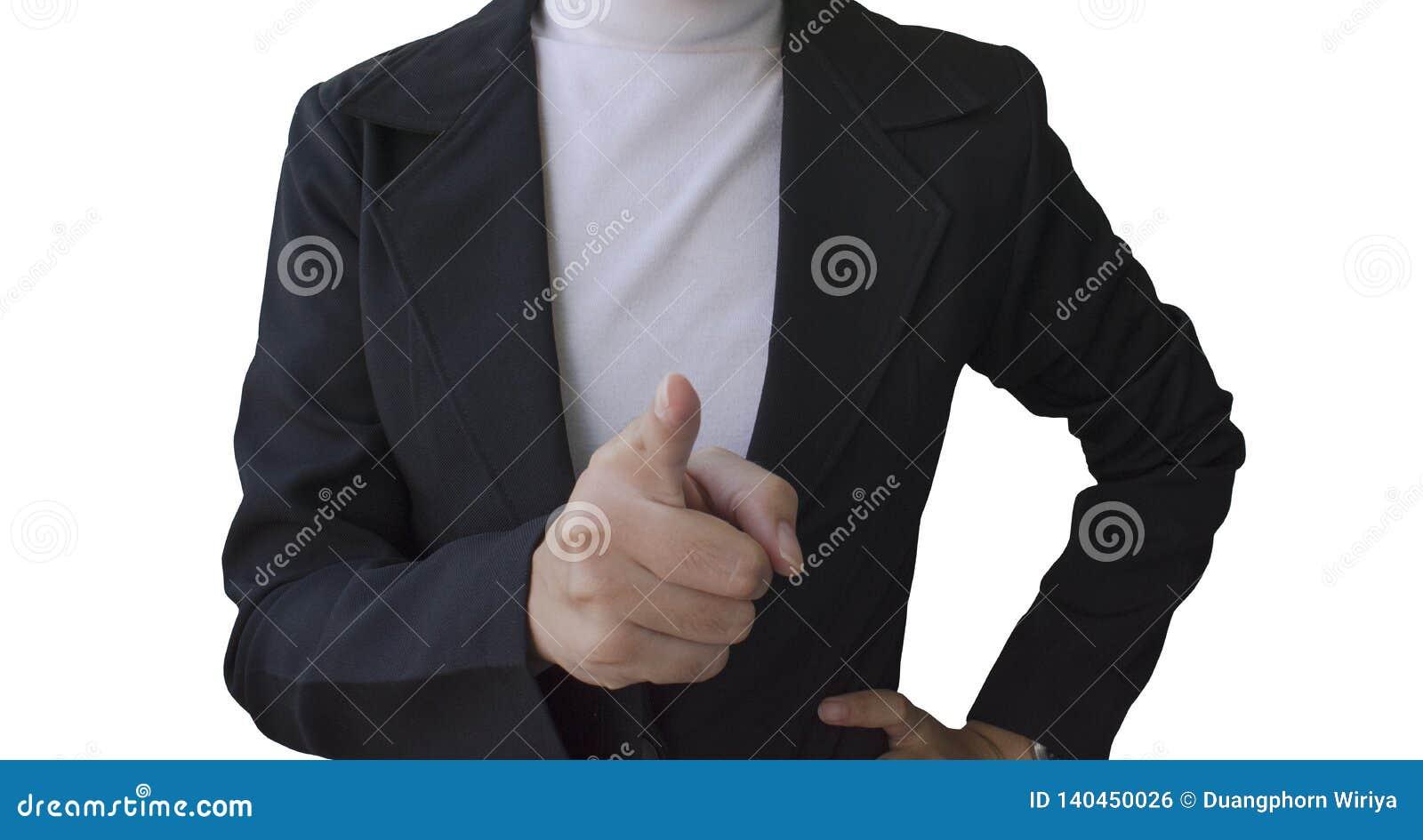 As mulheres de negócio apontaram o dedo à câmera