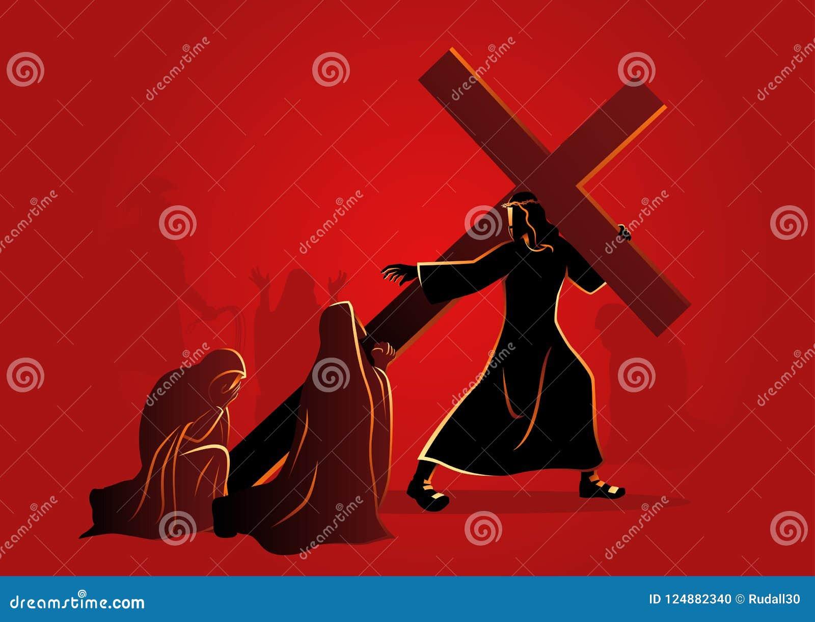 As mulheres do Jerusalém lamentam para Jesus
