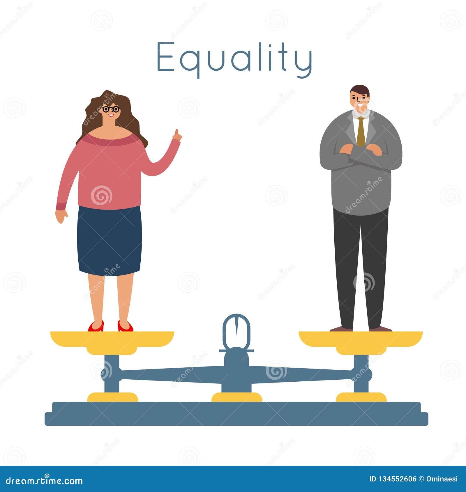 As mulheres dos homens da igualdade igualam direitos que os caráteres fêmeas masculinos equilibram o vetor liso moderno do projet