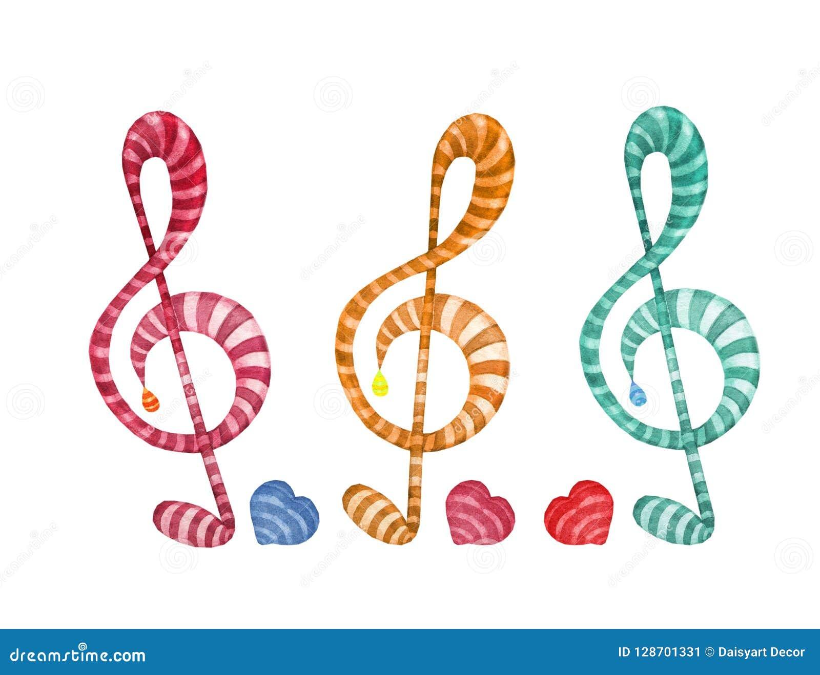 As Notas Coloridas Da Musica Da Aquarela Ajustaram Se Da Clave De