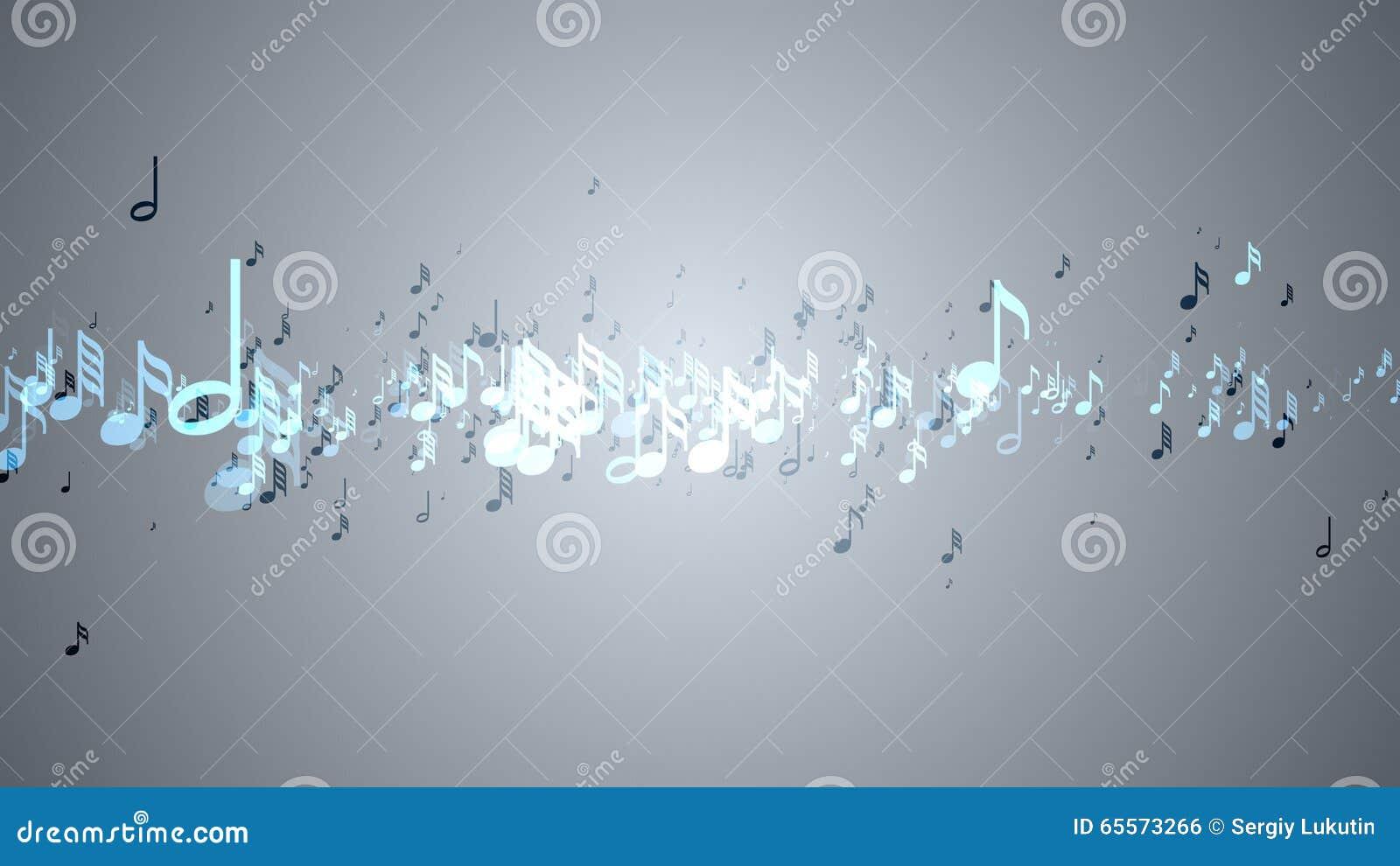 As notas musicais com profundidade de campo